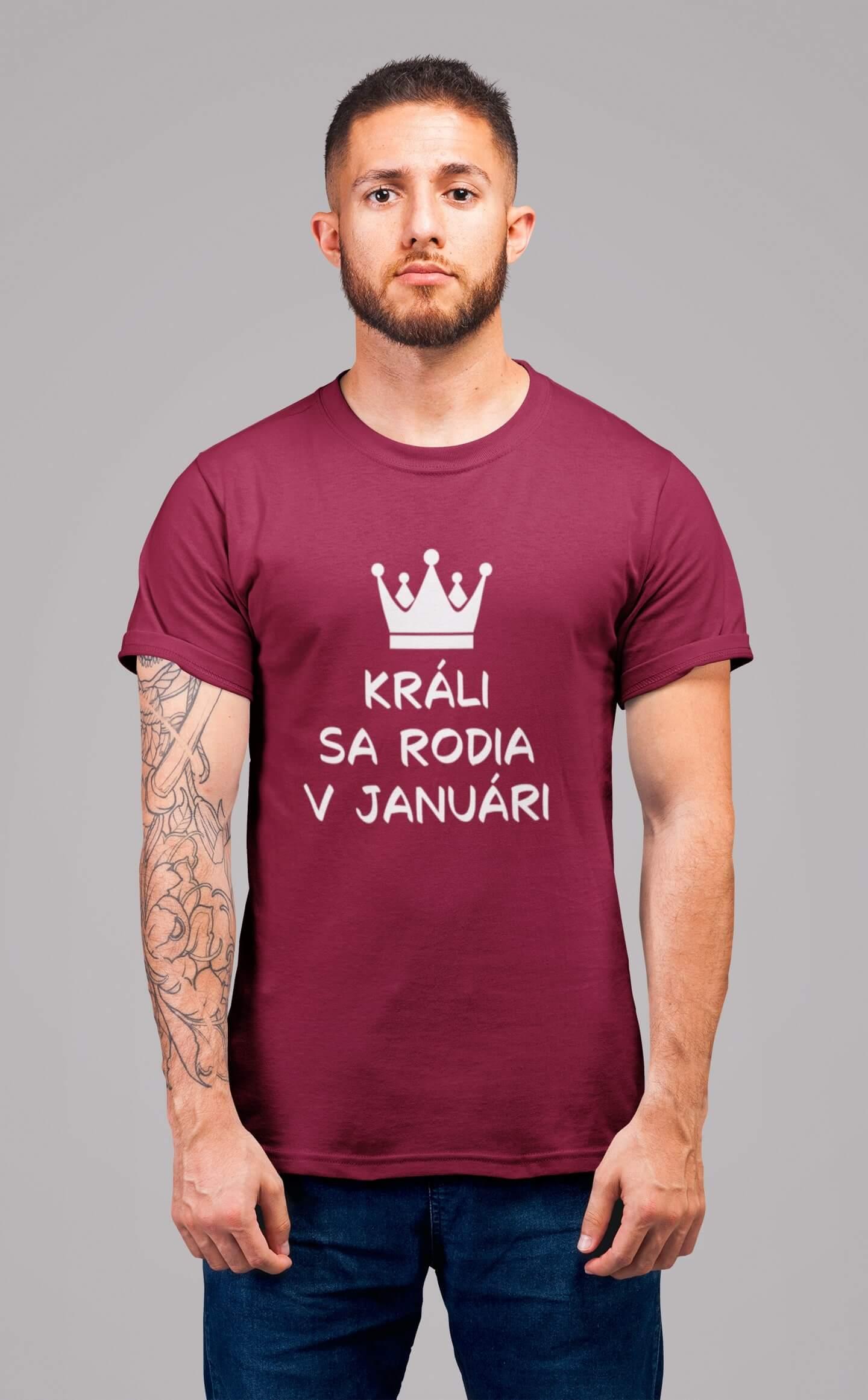 MMO Pánske tričko Králi sa rodia v januári Vyberte farbu: Marlboro červená, Vyberte veľkosť: M