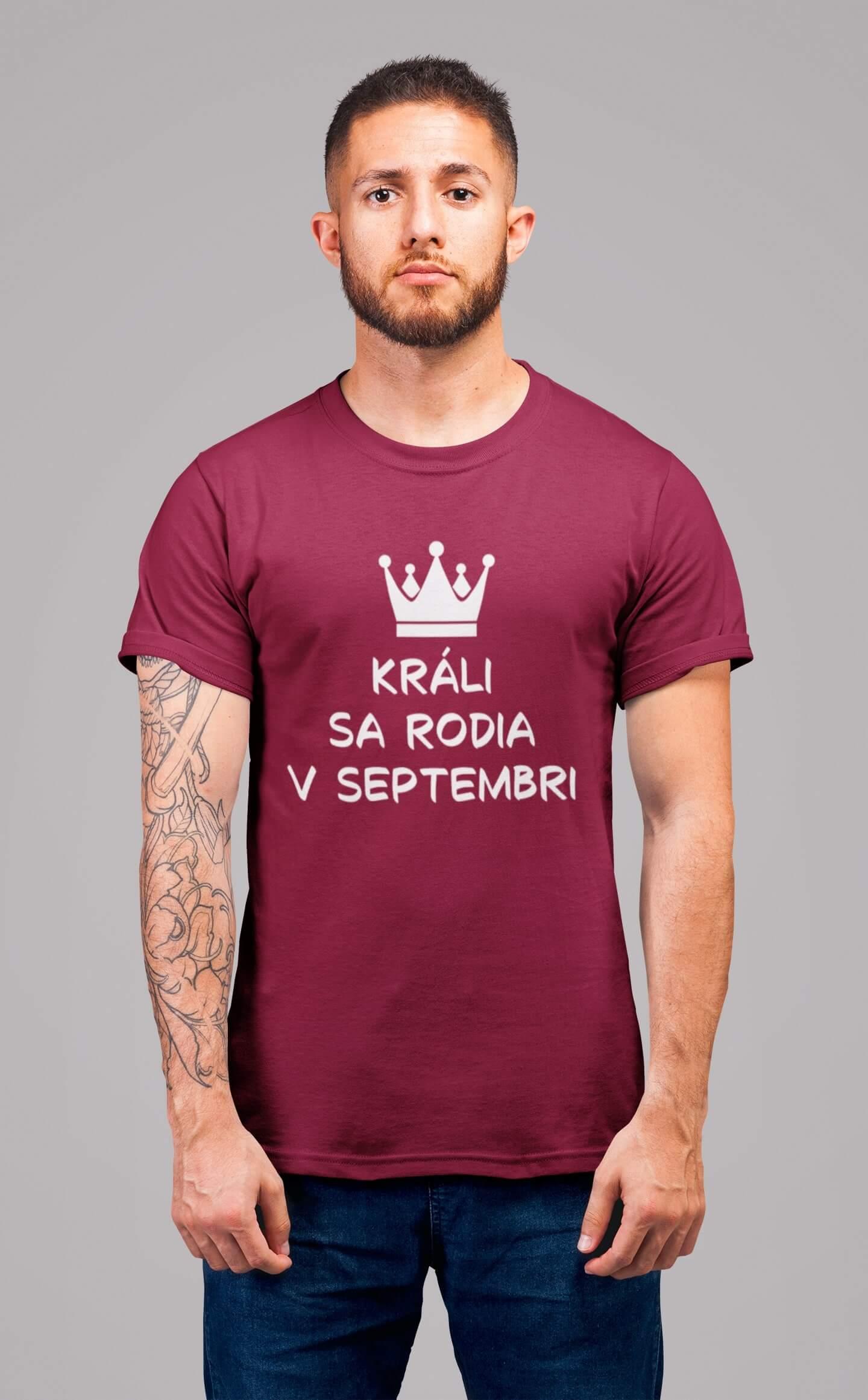 MMO Pánske tričko Králi sa rodia v septembri Vyberte farbu: Marlboro červená, Vyberte veľkosť: M