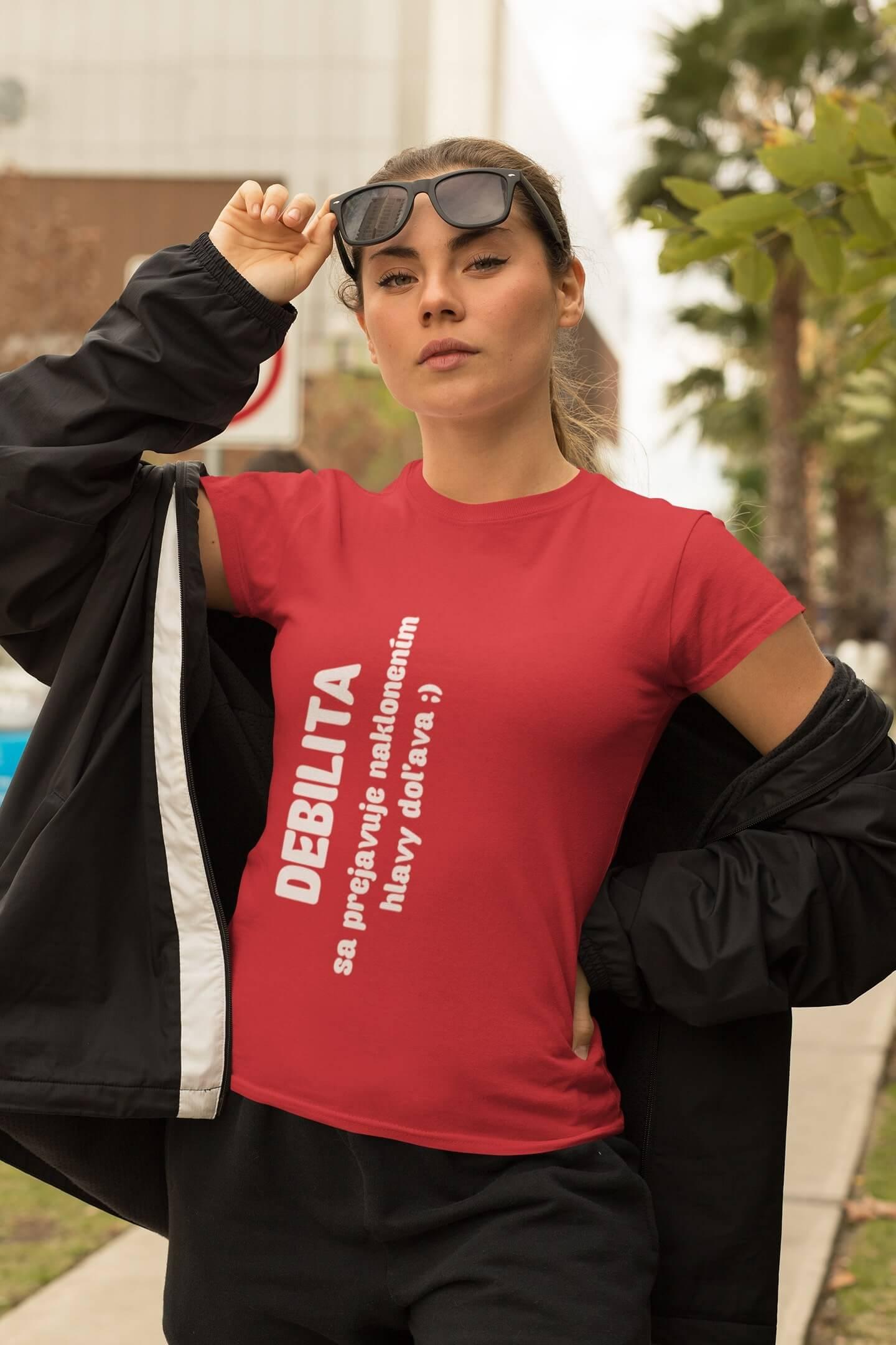 MMO Dámske tričko Debilita Vyberte farbu: Červená, Dámska veľkosť: M
