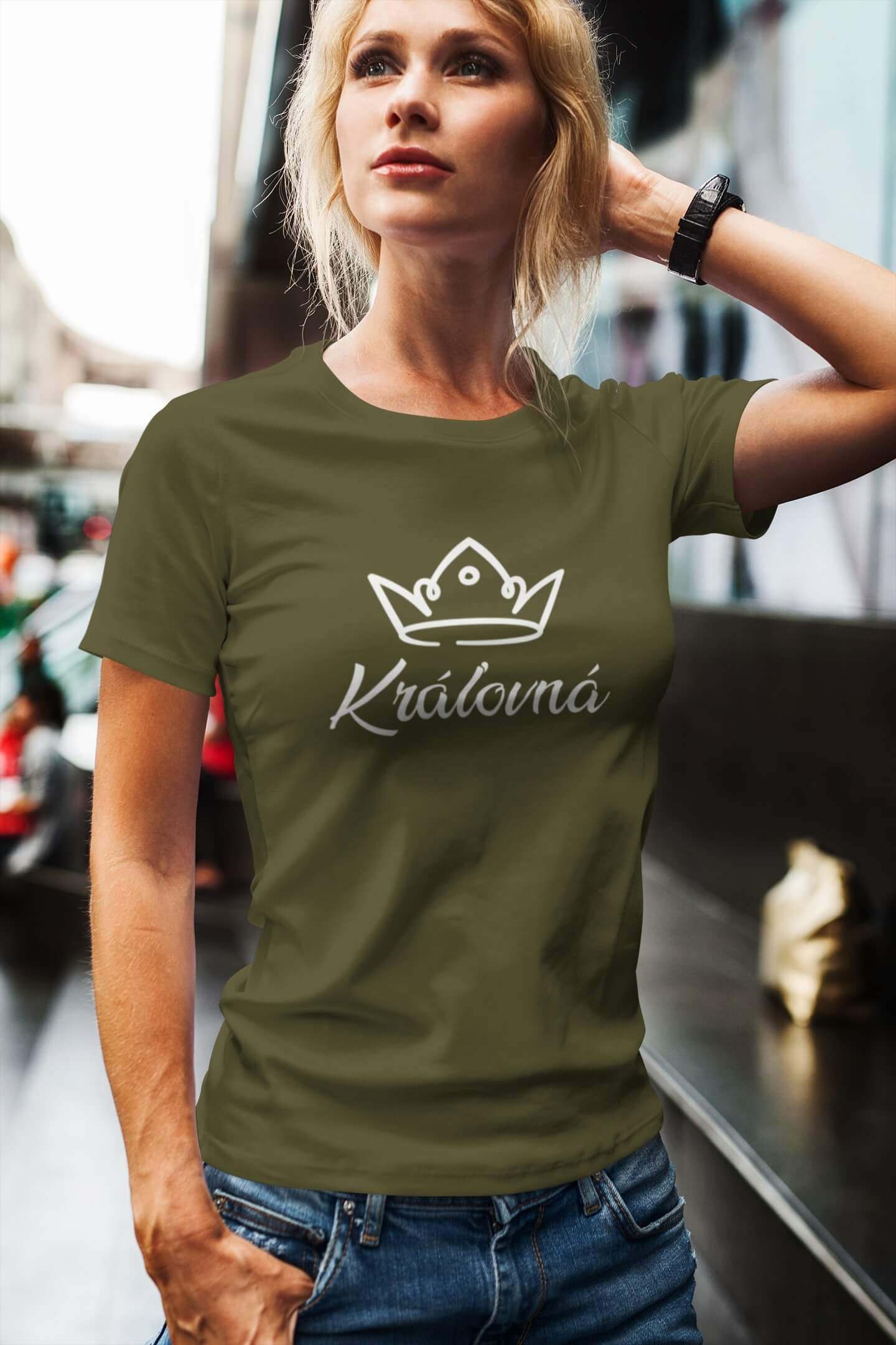MMO Dámske tričko pre mamu Kráľovská rodina Vyberte farbu: Khaki, Vyberte veľkosť: L