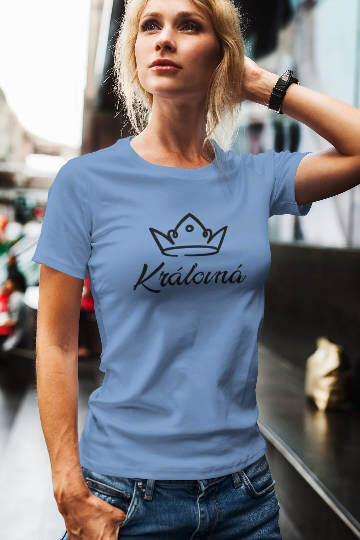 MMO Dámske tričko pre mamu Kráľovská rodina Vyberte farbu: Svetlomodrá, Vyberte veľkosť: L