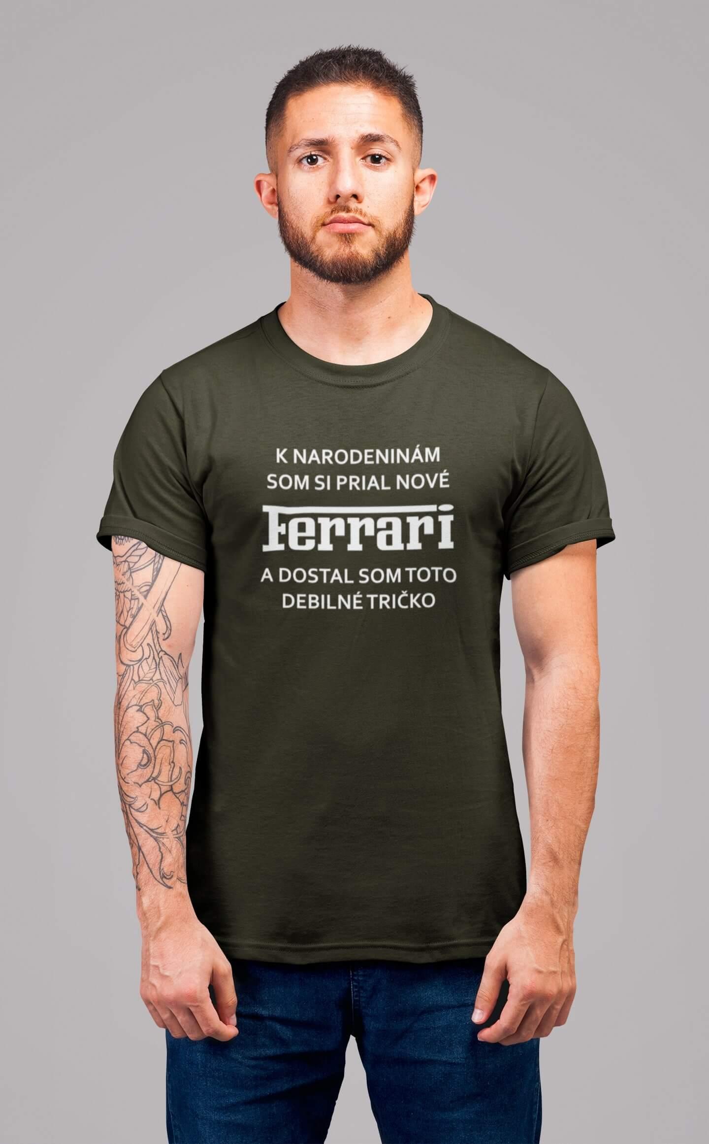 MMO Pánske tričko FERRARI Vyberte farbu: Military, Vyberte veľkosť: XS