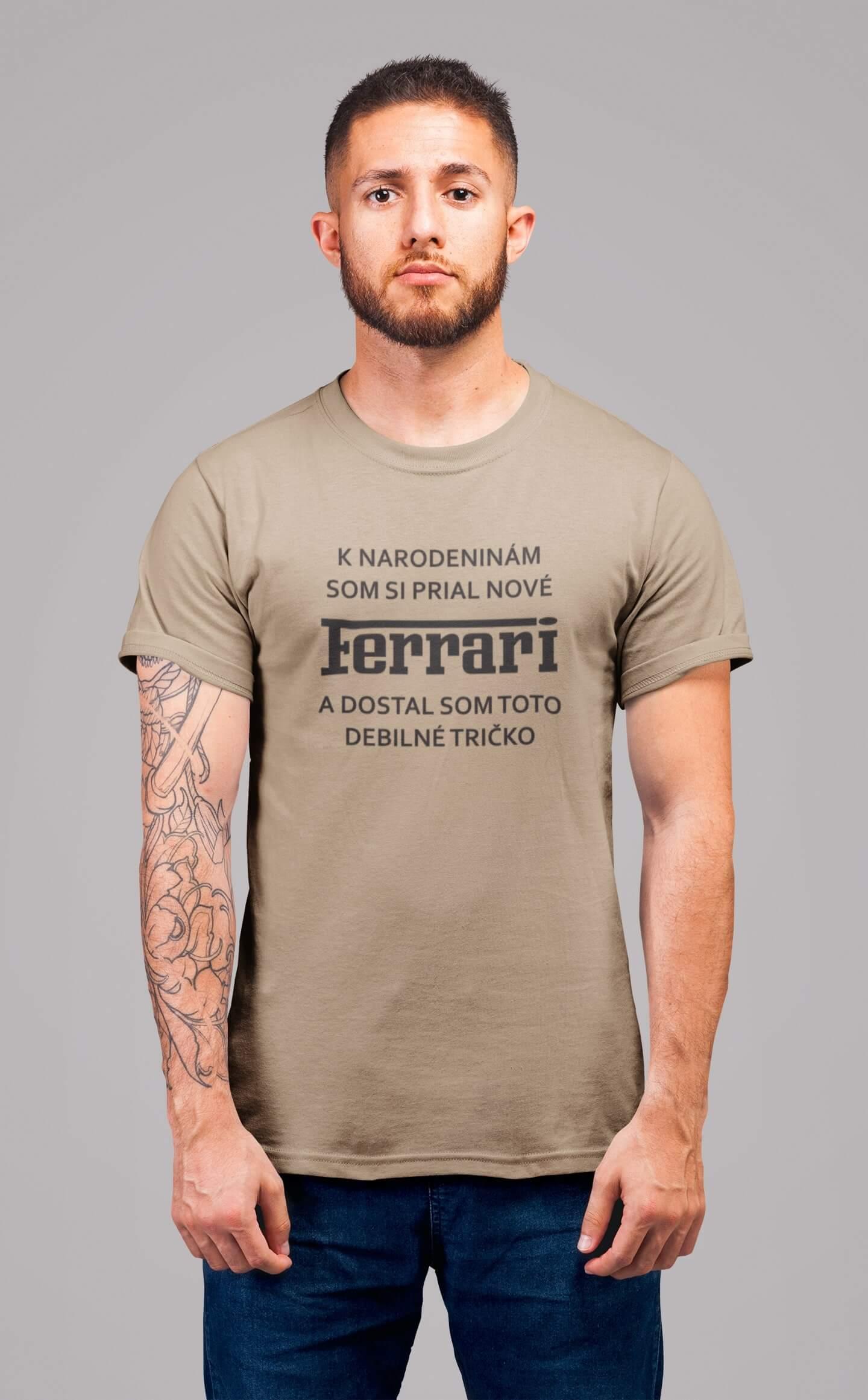 MMO Pánske tričko FERRARI Vyberte farbu: Piesková, Pánska veľkosť: S