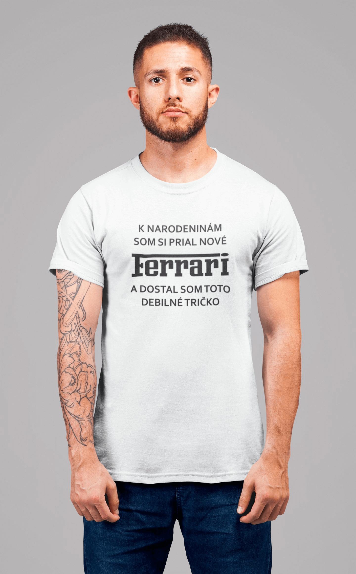 MMO Pánske tričko FERRARI Vyberte farbu: Biela, Pánska veľkosť: S