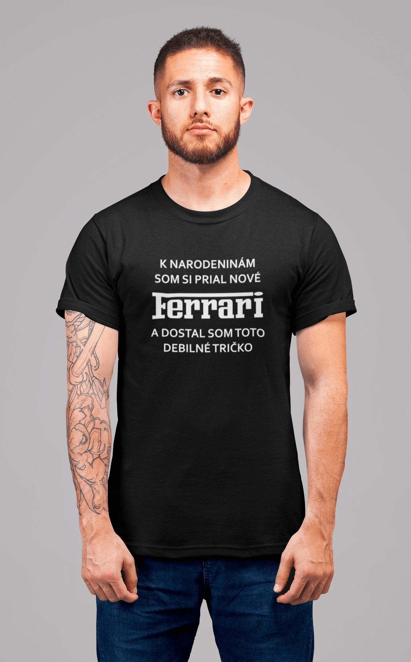 MMO Pánske tričko FERRARI Vyberte farbu: Čierna, Pánska veľkosť: S