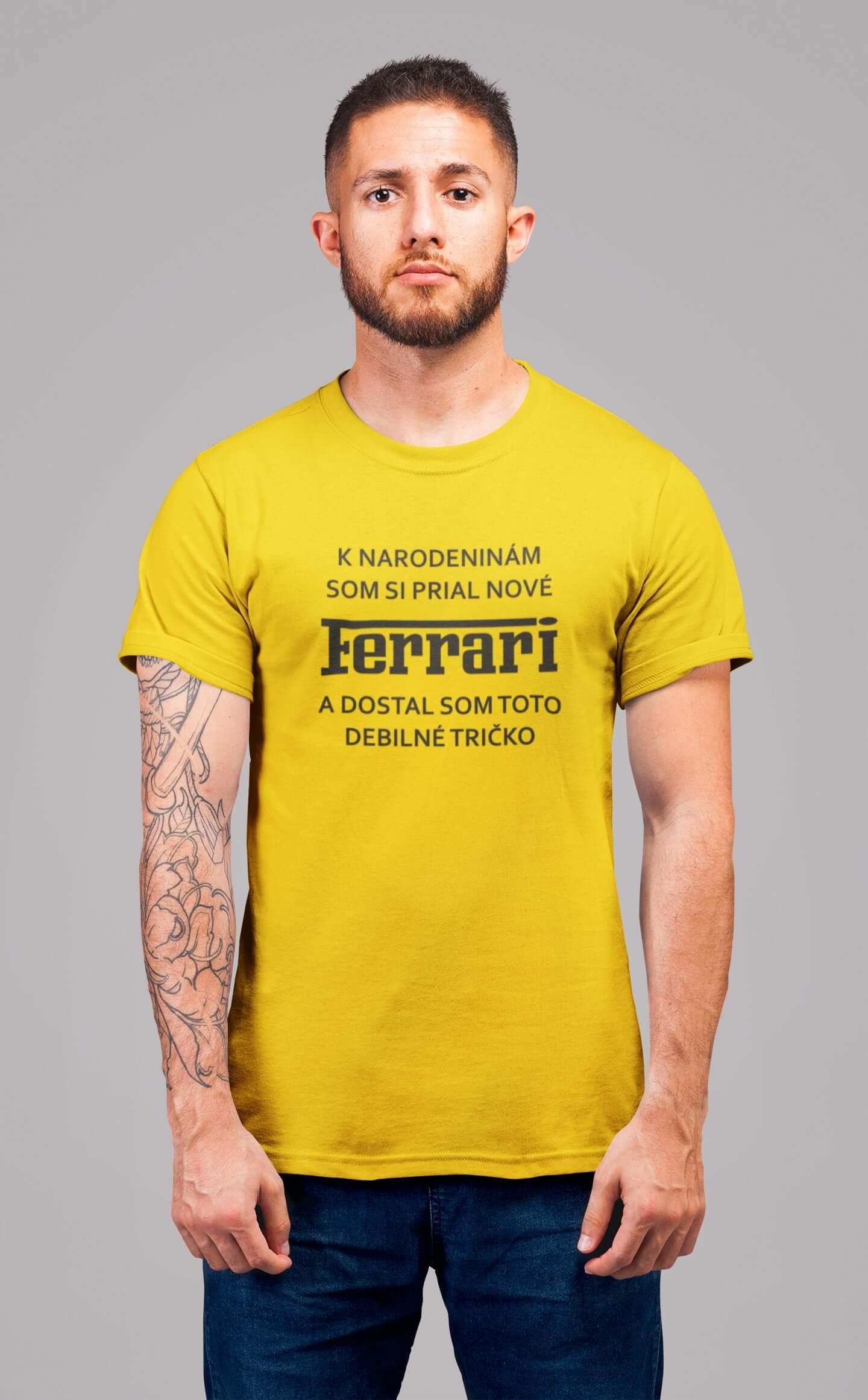 MMO Pánske tričko FERRARI Vyberte farbu: Žltá, Pánska veľkosť: S