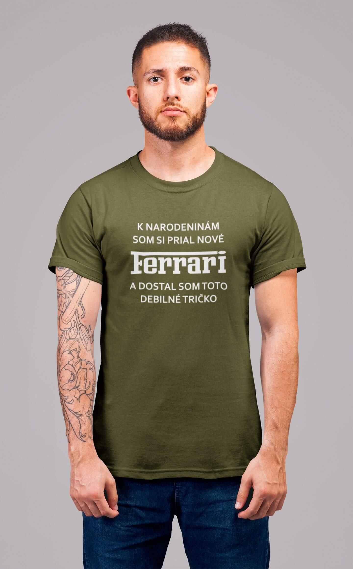 MMO Pánske tričko FERRARI Vyberte farbu: Khaki, Pánska veľkosť: S