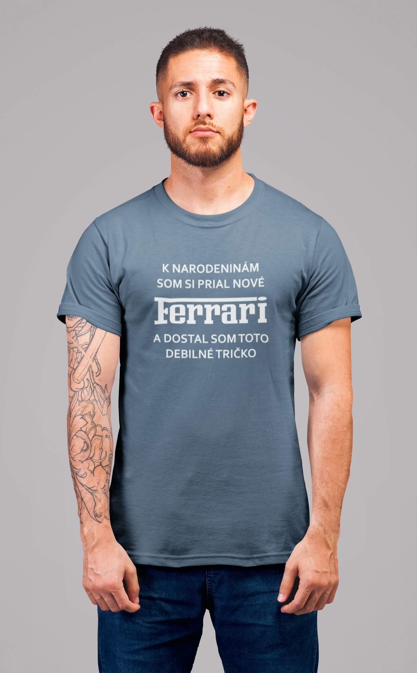 MMO Pánske tričko FERRARI Vyberte farbu: Denim, Vyberte veľkosť: XS