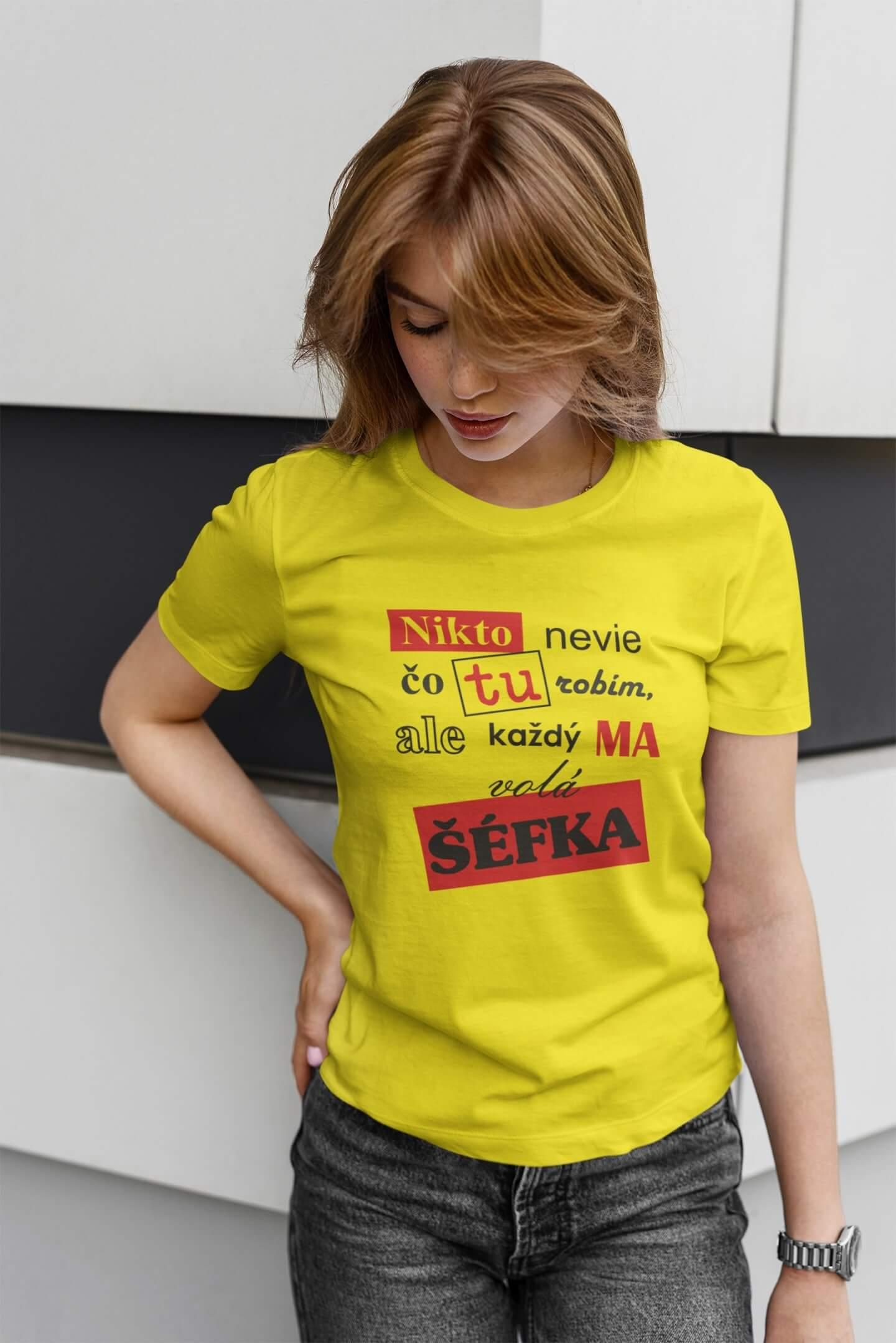 MMO Dámske tričko Šéfka Vyberte farbu: Citrónová, Vyberte veľkosť: M