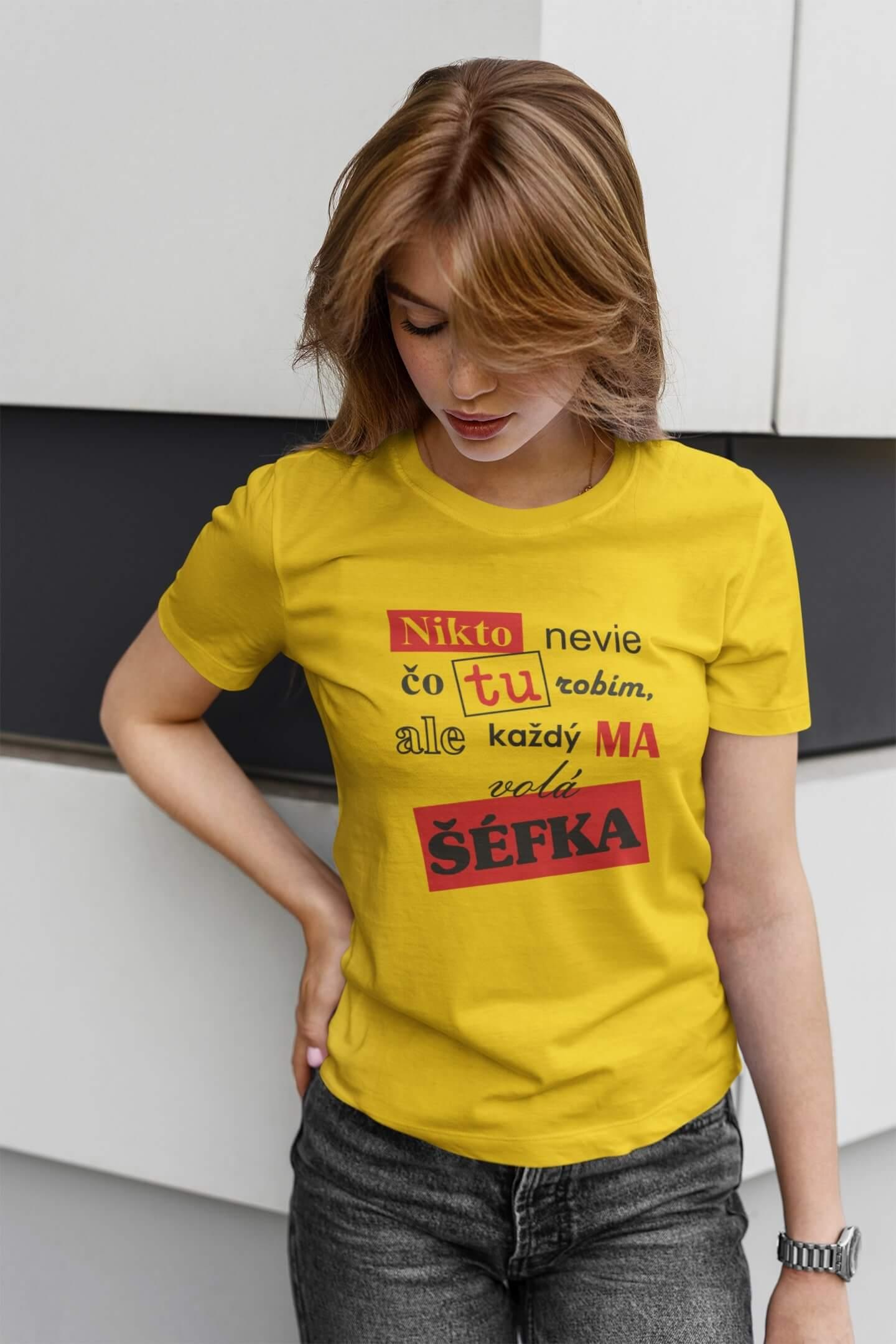 MMO Dámske tričko Šéfka Vyberte farbu: Žltá, Vyberte veľkosť: M
