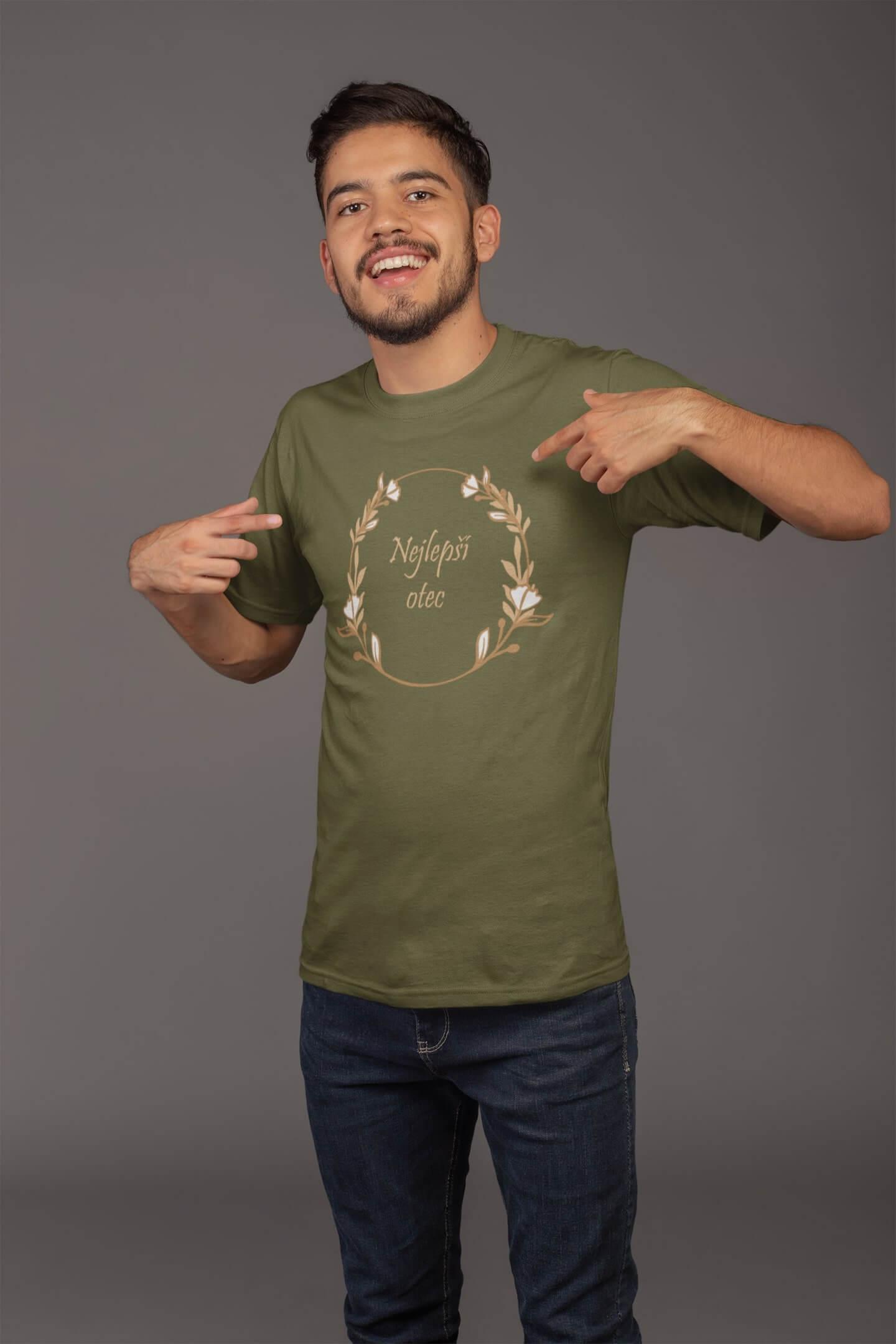MMO Pánske tričko pre otca Najlepší otec Vyberte farbu: Khaki, Vyberte veľkosť: XS