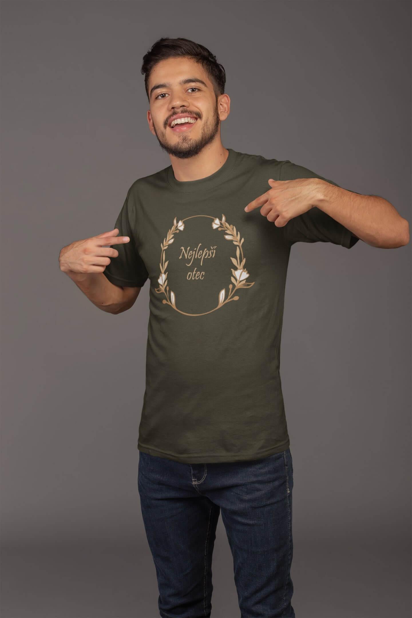 MMO Pánske tričko pre otca Najlepší otec Vyberte farbu: Military, Vyberte veľkosť: XS