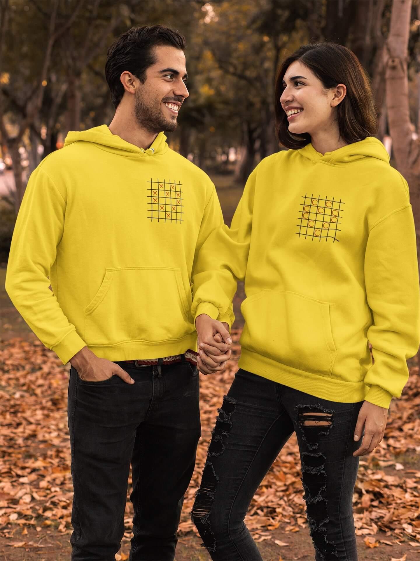 MMO Mikiny pre páry Piškvorky Farba: Žltá, Dámska veľkosť: S, Pánska veľkosť: S