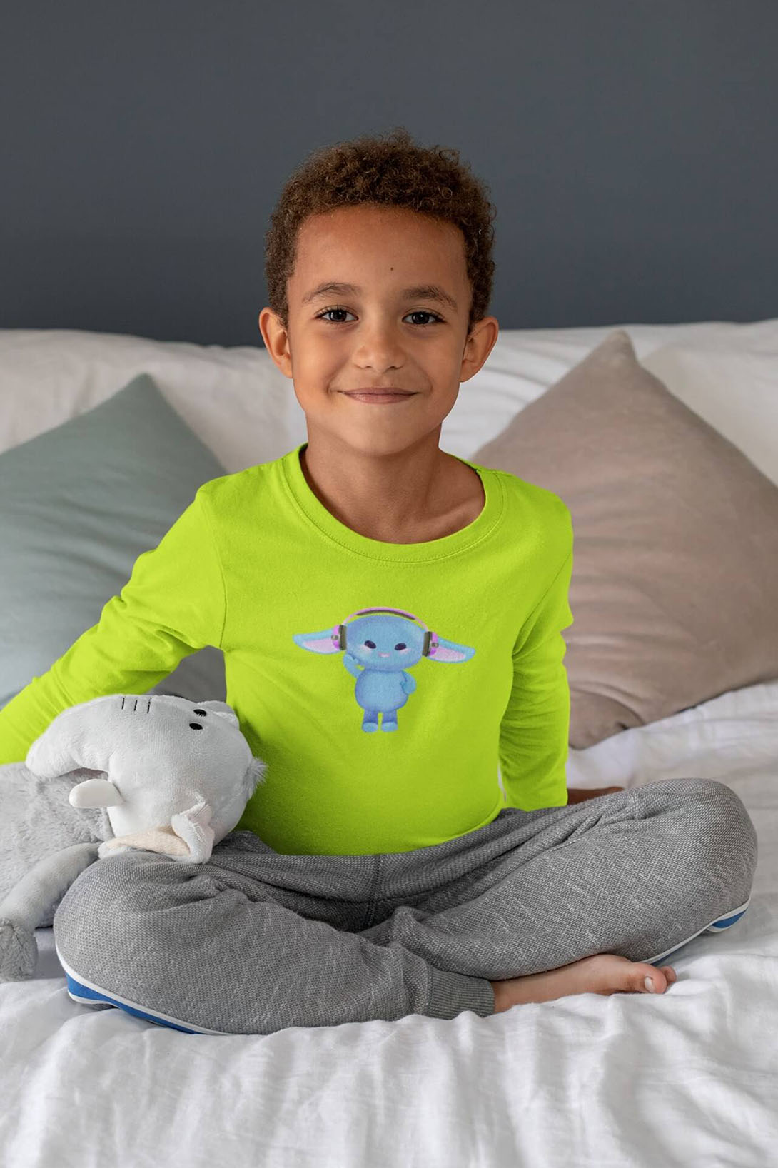 MMO Detské tričko s dlhým rukávom Zajac so slúchadlami Vyberte farbu:: Limetková, Detská veľkosť: 146/10 rokov