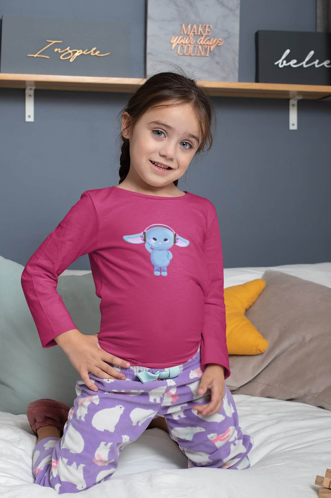 MMO Detské tričko s dlhým rukávom Zajac so slúchadlami Vyberte farbu:: Červená, Detská veľkosť: 146/10 rokov