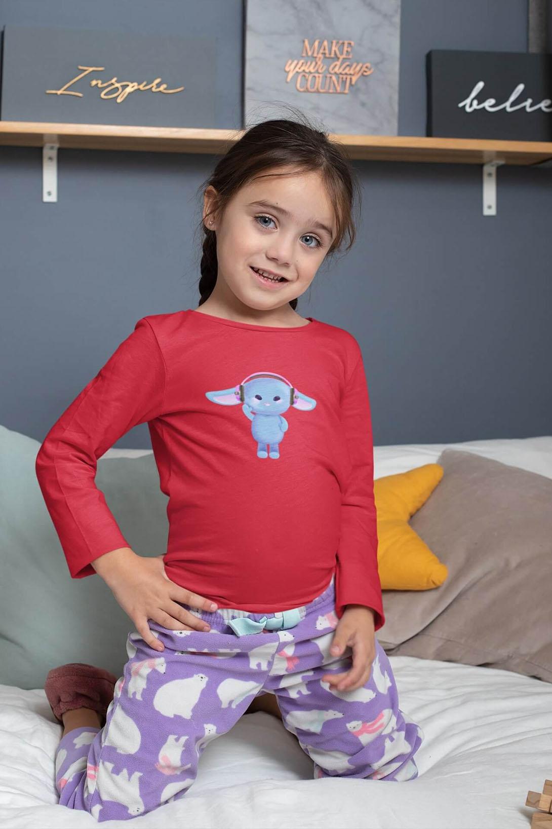 MMO Detské tričko s dlhým rukávom Zajac so slúchadlami Vyberte farbu:: Tyrkysová, Detská veľkosť: 122/6 rokov
