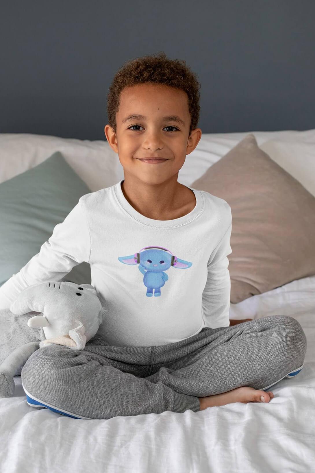 MMO Detské tričko s dlhým rukávom Zajac so slúchadlami Vyberte farbu:: Biela, Detská veľkosť: 122/6 rokov
