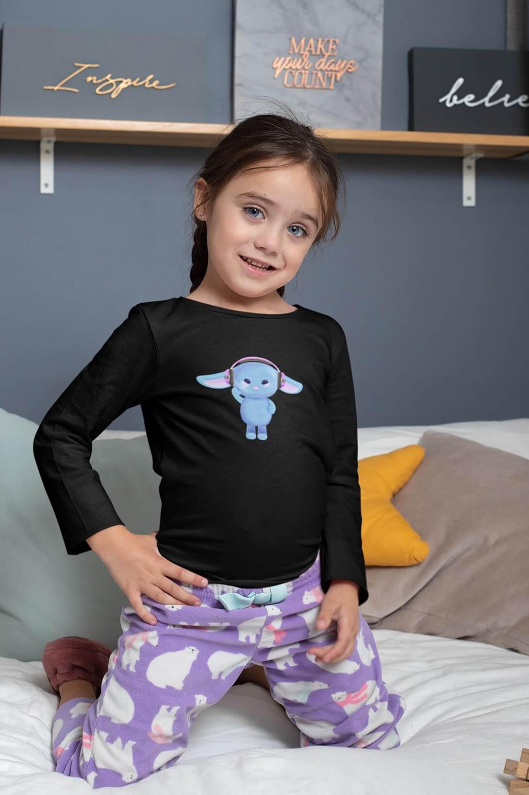 MMO Detské tričko s dlhým rukávom Zajac so slúchadlami Vyberte farbu:: Čierna, Detská veľkosť: 146/10 rokov