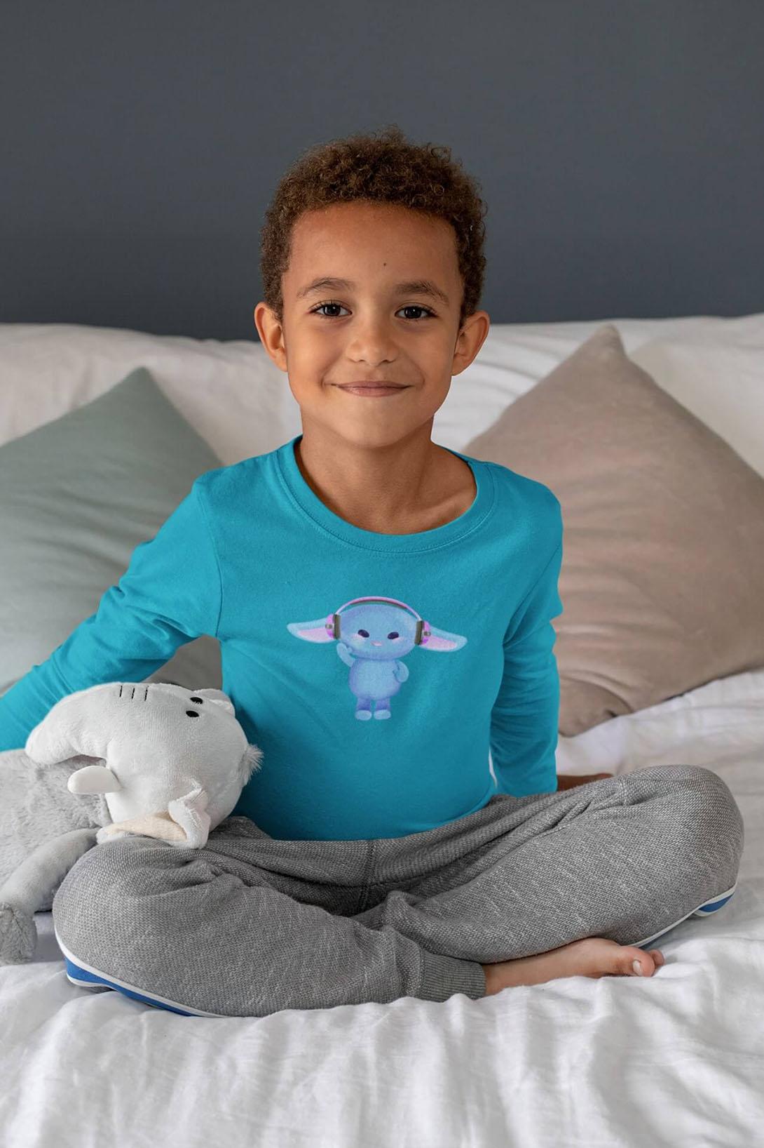 MMO Detské tričko s dlhým rukávom Zajac so slúchadlami Vyberte farbu:: Malinová, Detská veľkosť: 122/6 rokov