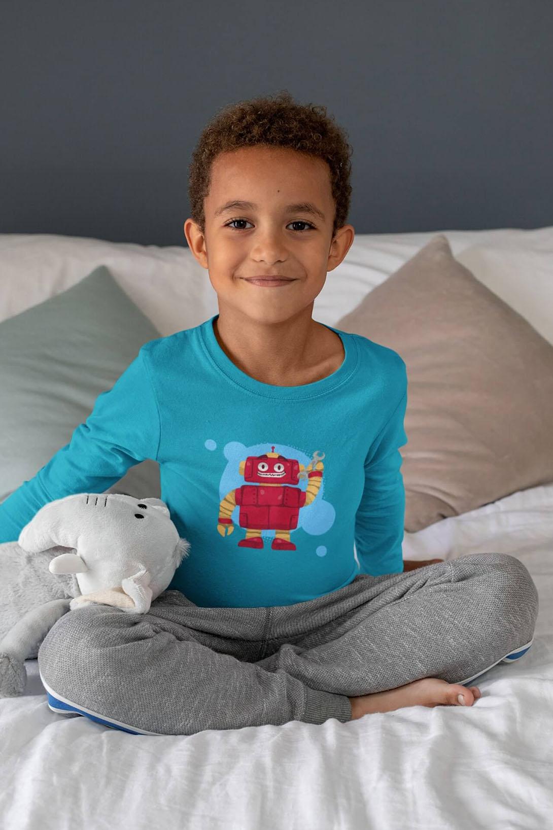 MMO Chlapčenské tričko s dlhým rukávom Robot Vyberte farbu:: Tyrkysová, Detská veľkosť: 158/12 rokov