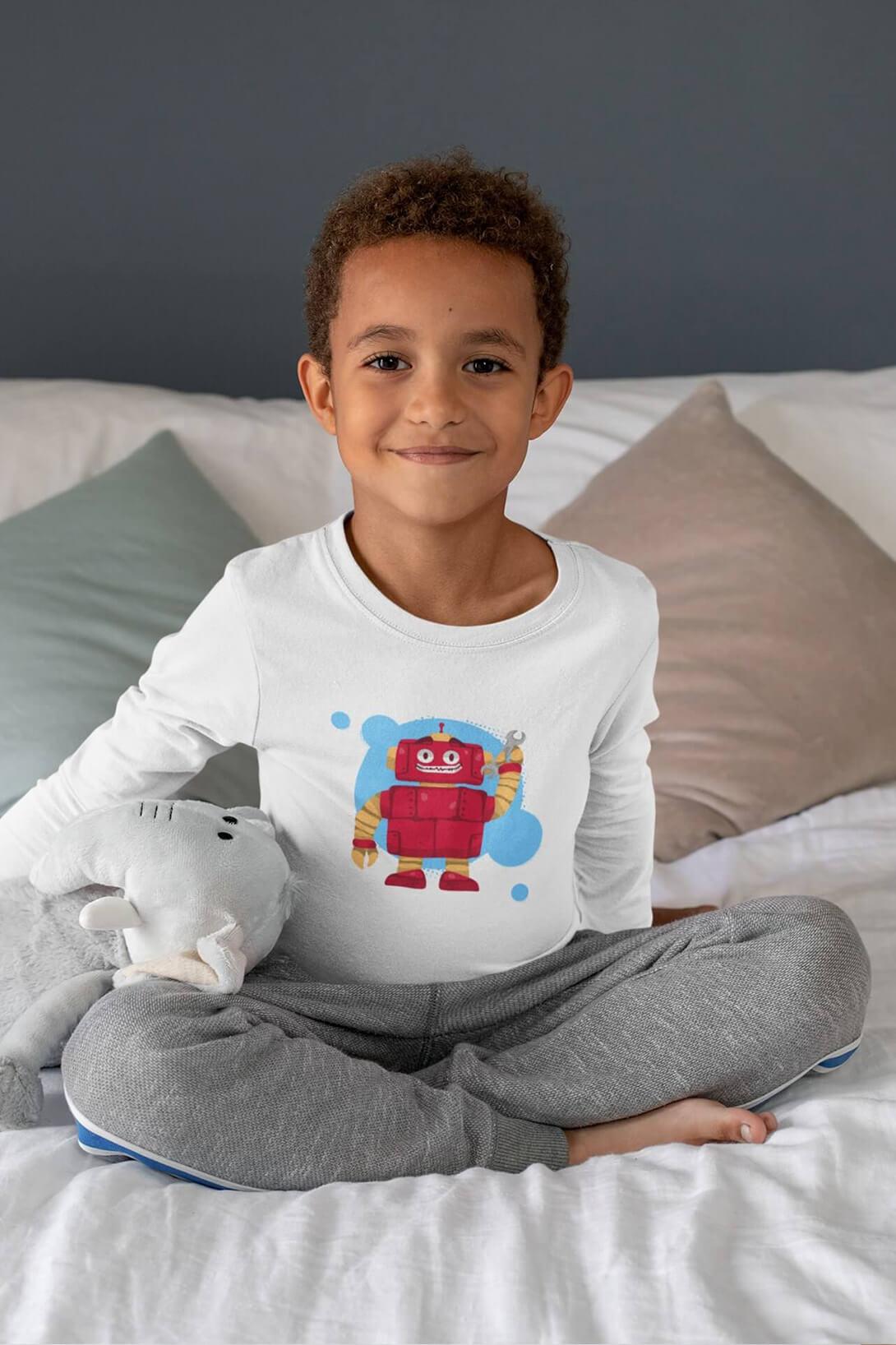 MMO Chlapčenské tričko s dlhým rukávom Robot Vyberte farbu:: Biela, Detská veľkosť: 158/12 rokov