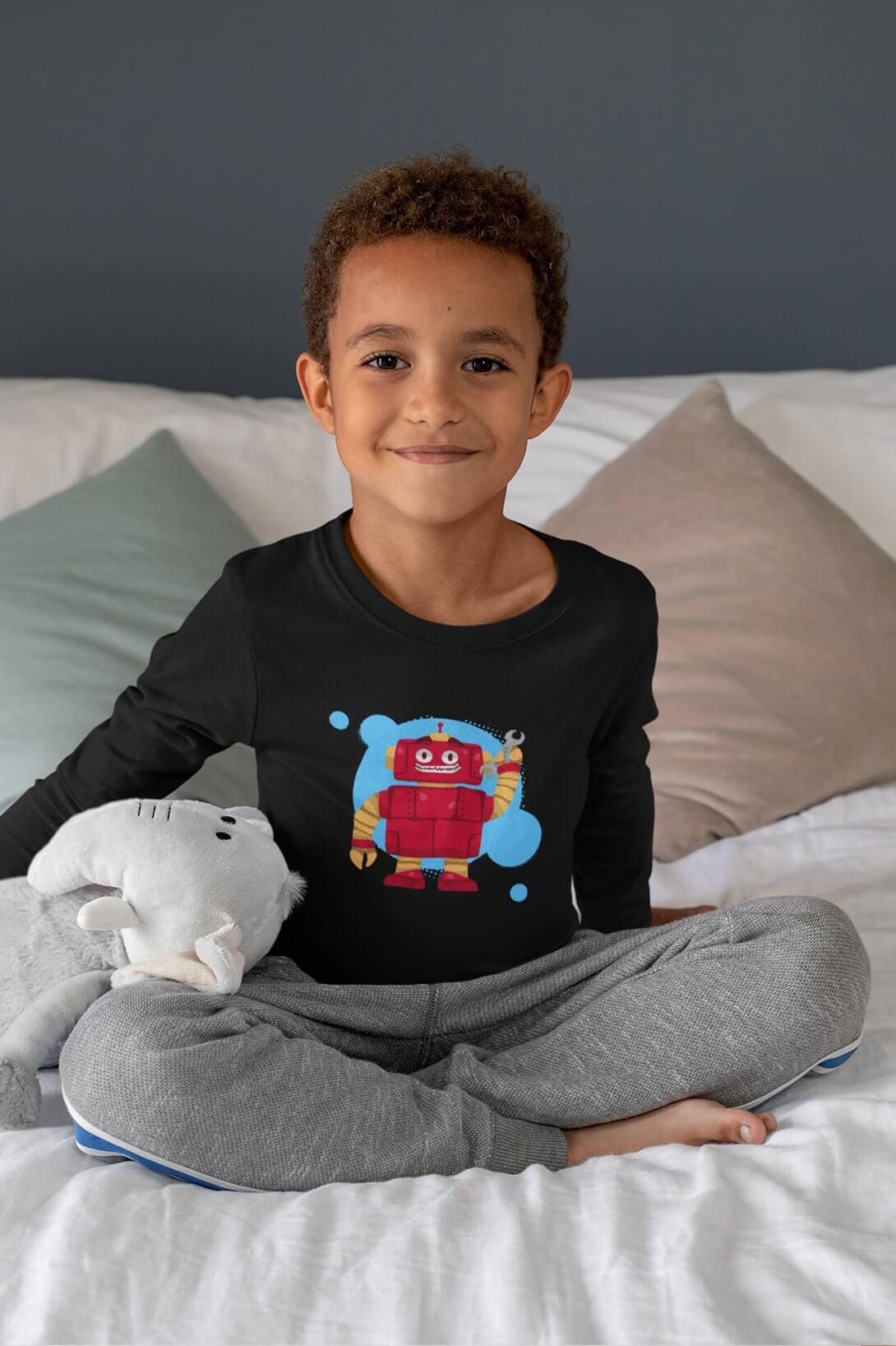 MMO Chlapčenské tričko s dlhým rukávom Robot Vyberte farbu:: Čierna, Detská veľkosť: 158/12 rokov