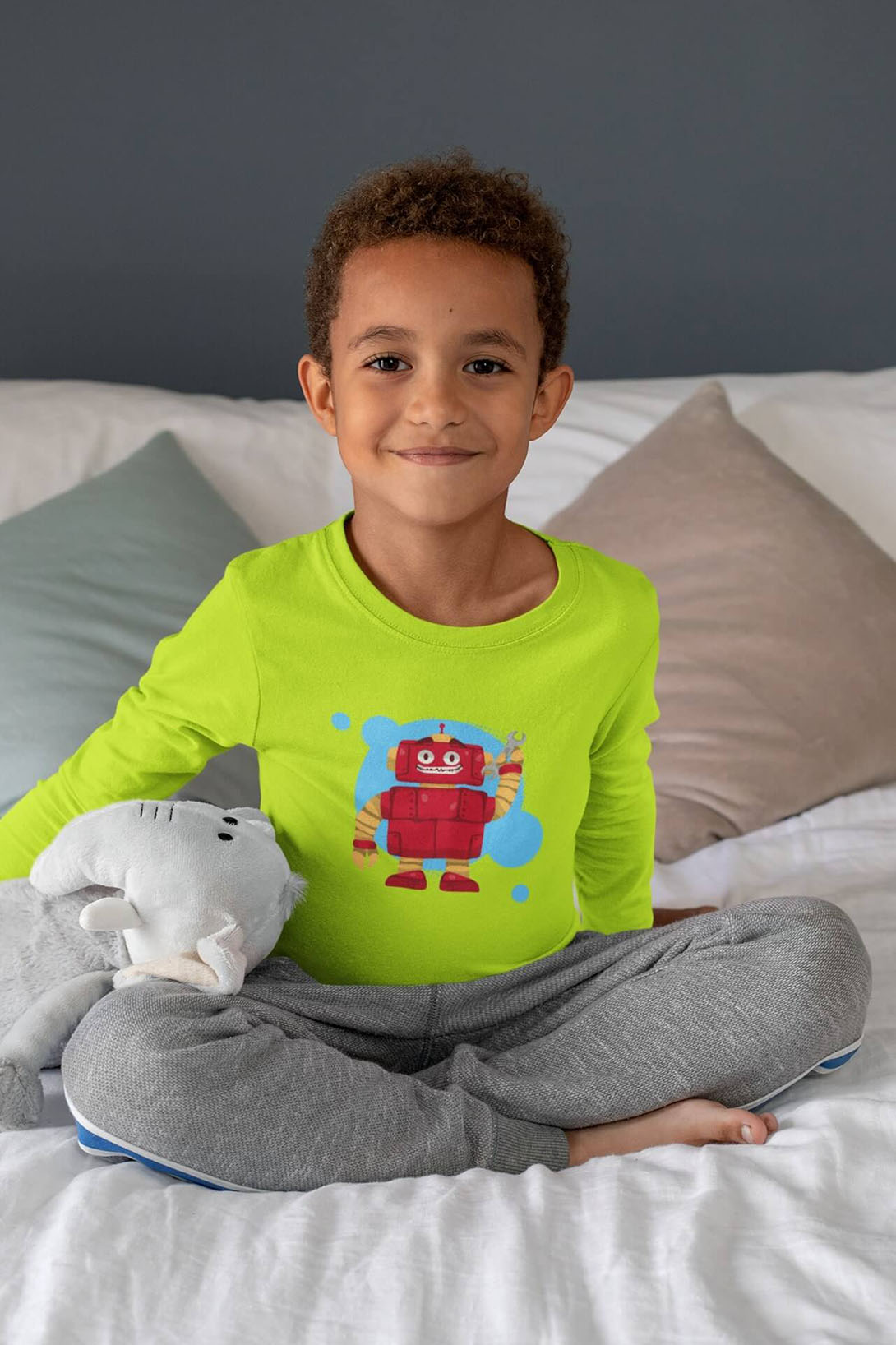 MMO Chlapčenské tričko s dlhým rukávom Robot Vyberte farbu:: Limetková, Detská veľkosť: 158/12 rokov