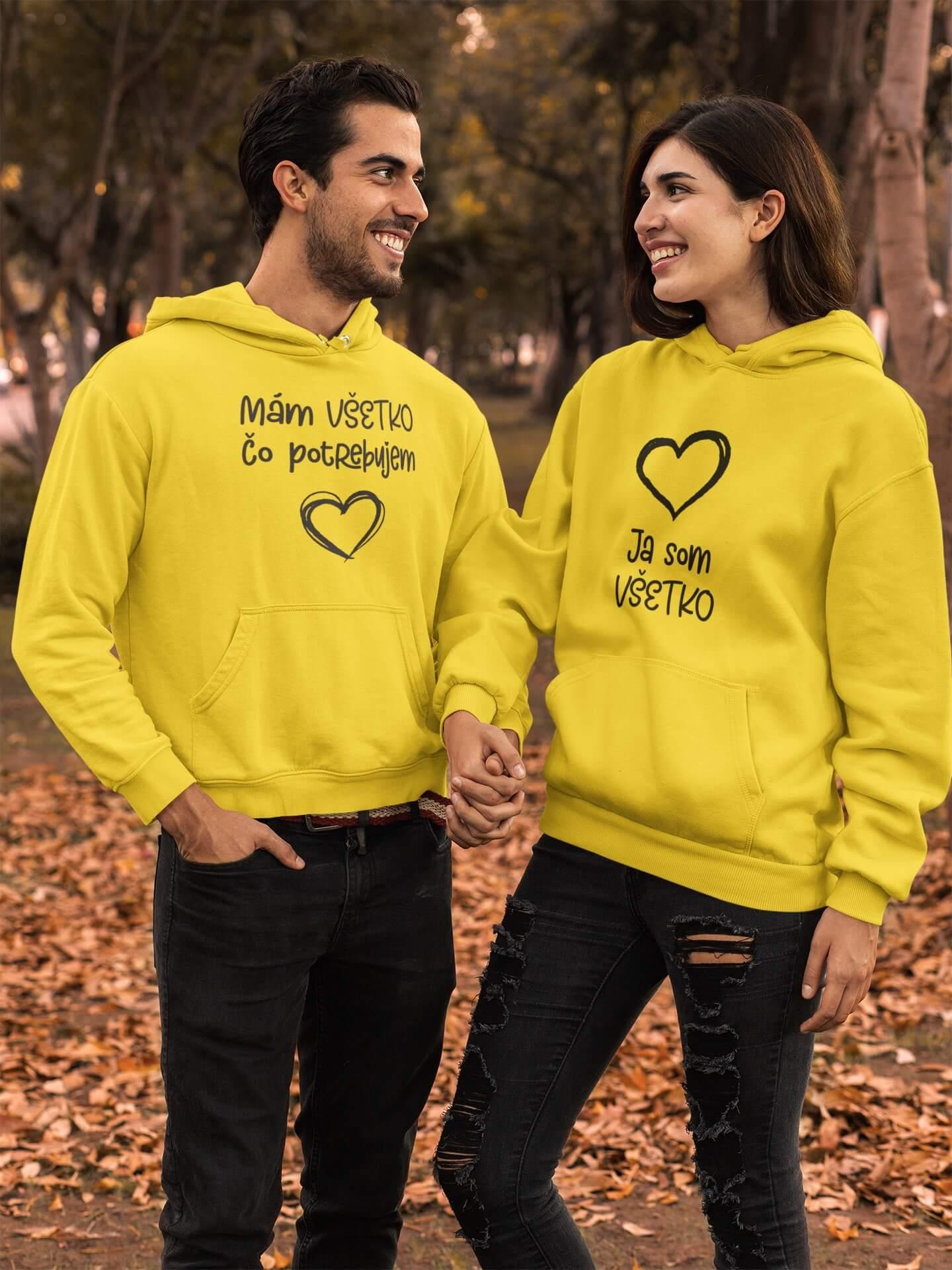 MMO Mikiny pre páry Všetko Farba: Žltá, Dámska veľkosť: S, Pánska veľkosť: S