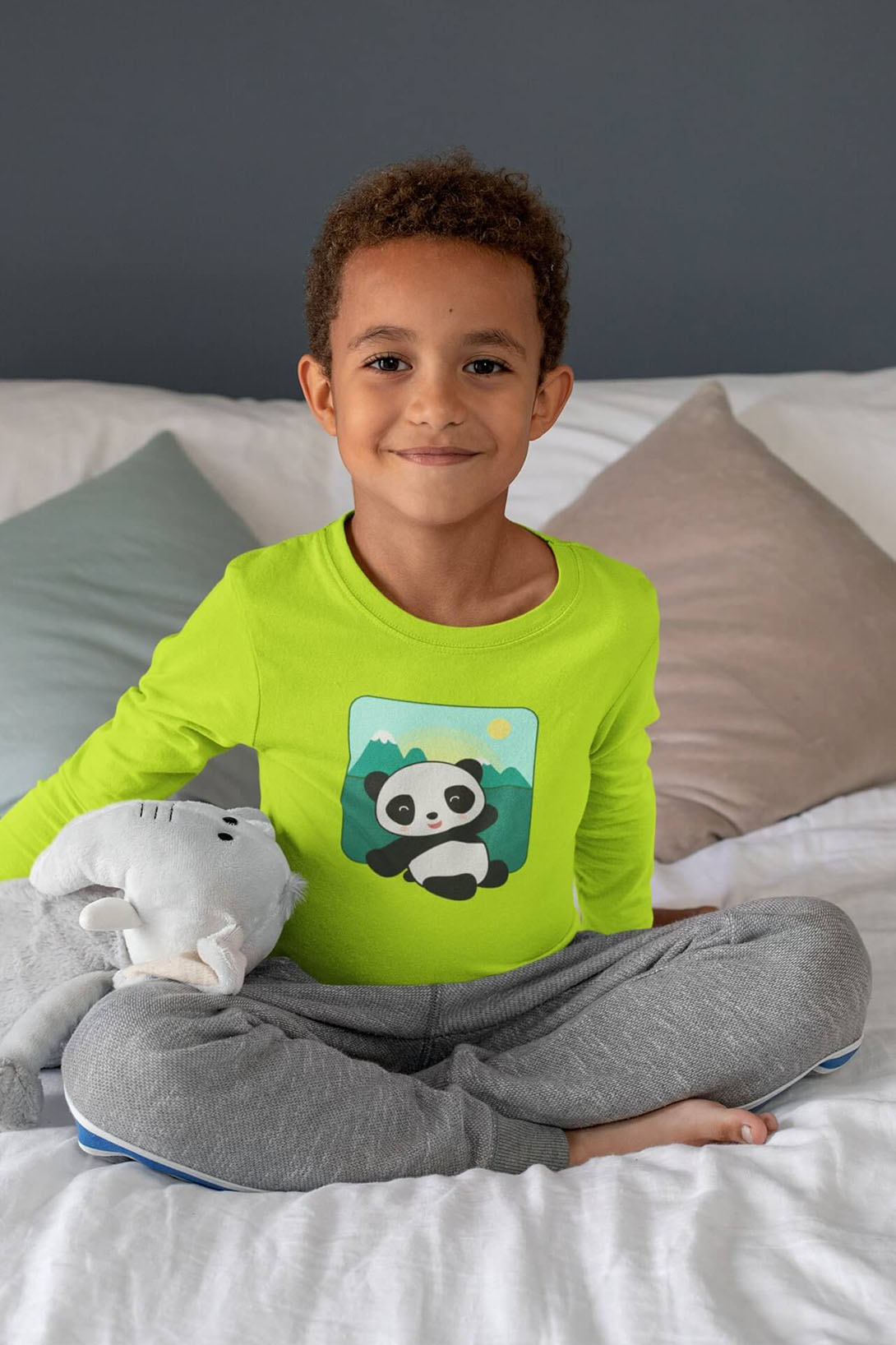 MMO Detské tričko s dlhým rukávom Panda Vyberte farbu:: Malinová, Detská veľkosť: 158/12 rokov