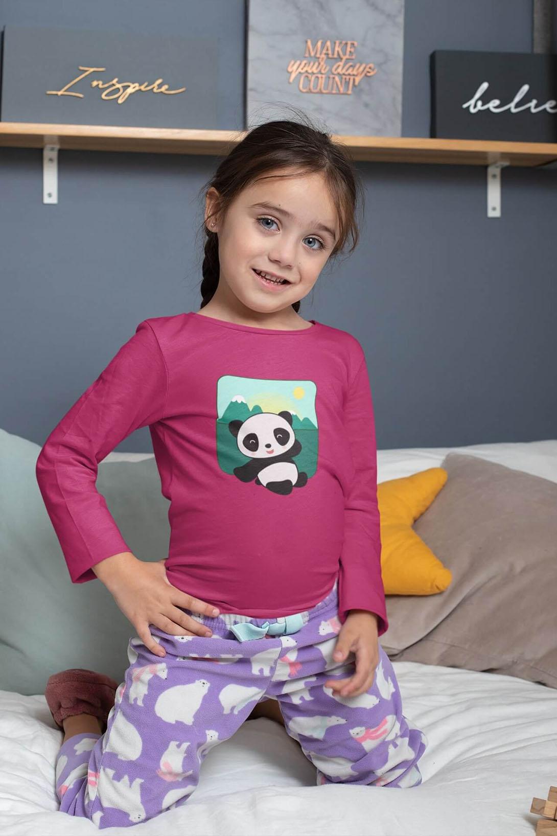 MMO Detské tričko s dlhým rukávom Panda Vyberte farbu:: Limetková, Detská veľkosť: 158/12 rokov