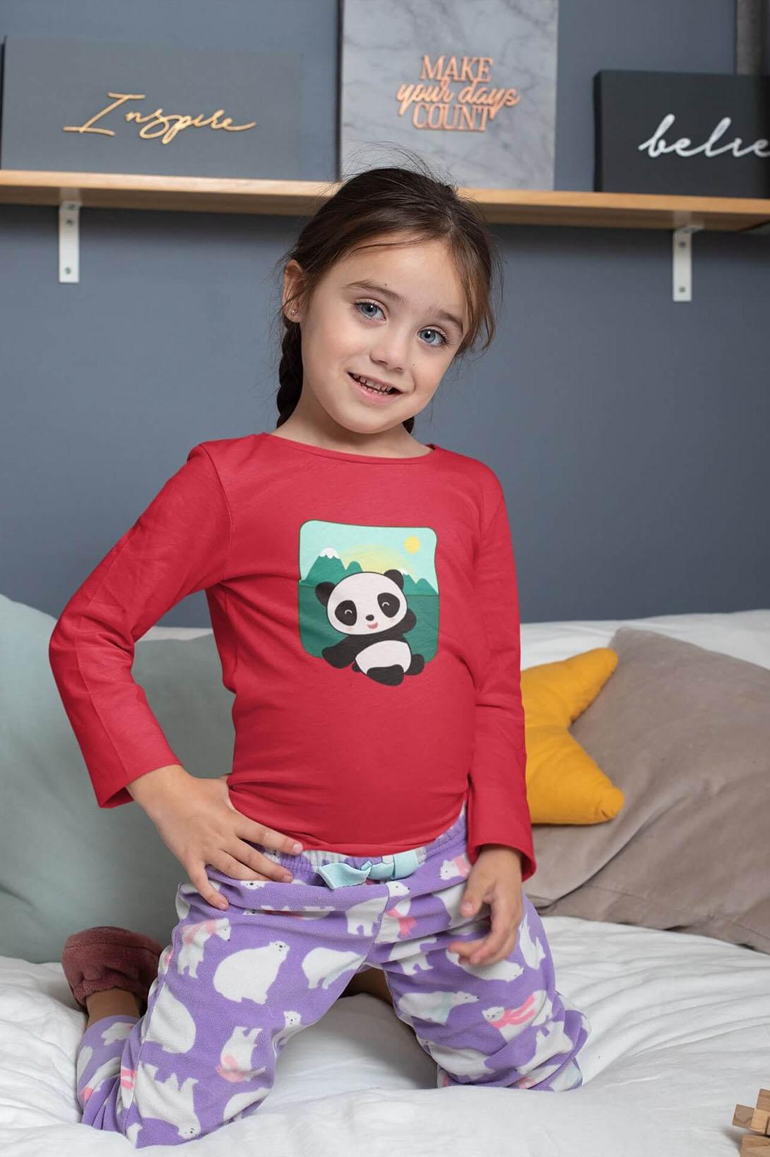 MMO Detské tričko s dlhým rukávom Panda Vyberte farbu:: Tyrkysová, Detská veľkosť: 158/12 rokov