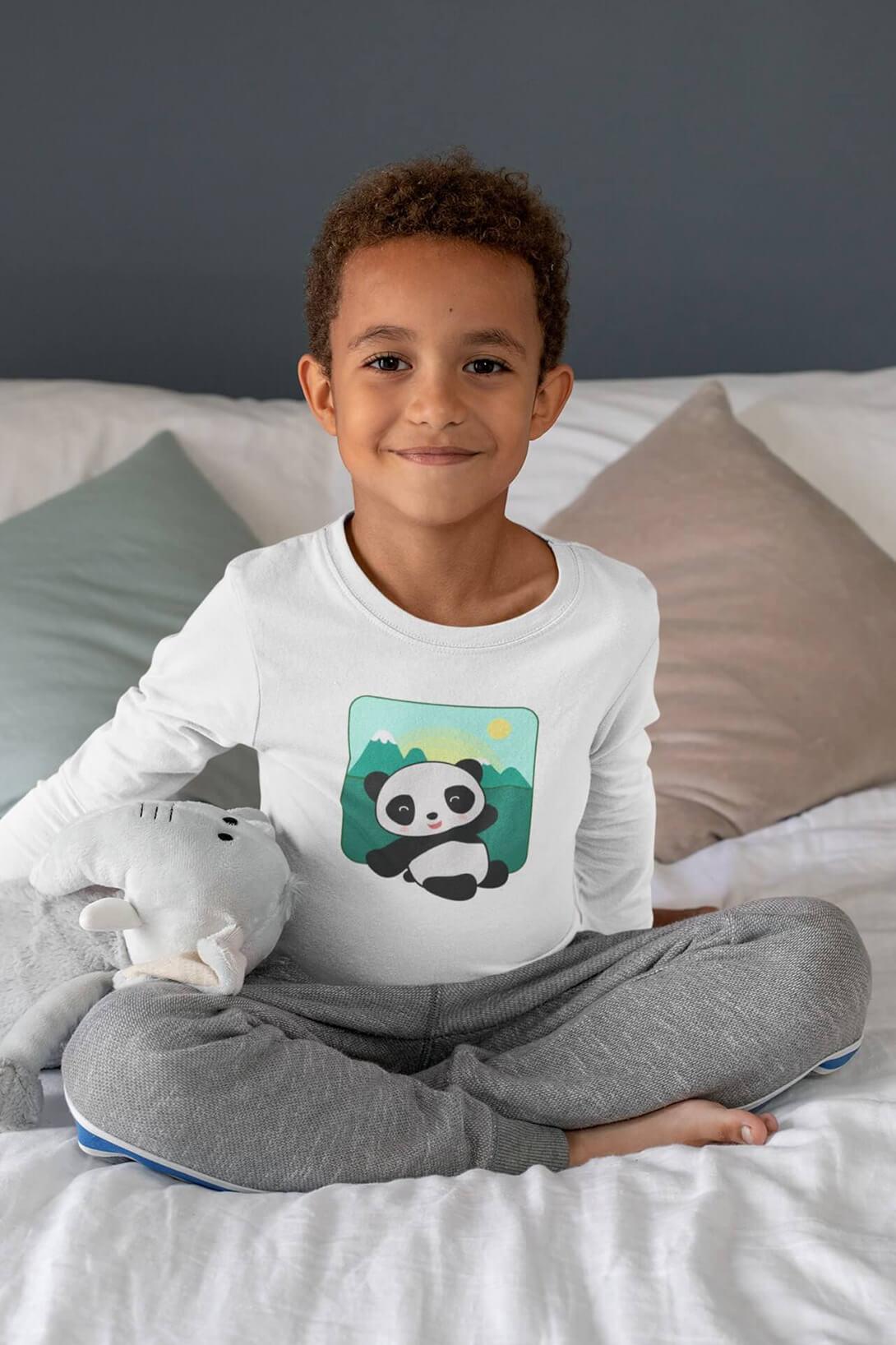 MMO Detské tričko s dlhým rukávom Panda Vyberte farbu:: Biela, Detská veľkosť: 158/12 rokov
