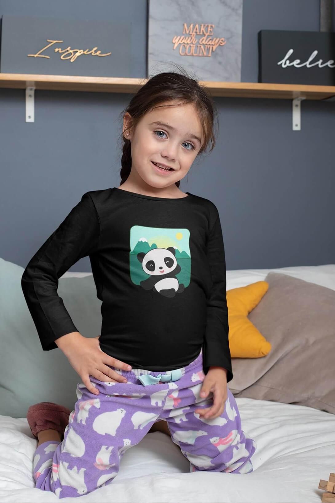 MMO Detské tričko s dlhým rukávom Panda Vyberte farbu:: Čierna, Detská veľkosť: 158/12 rokov