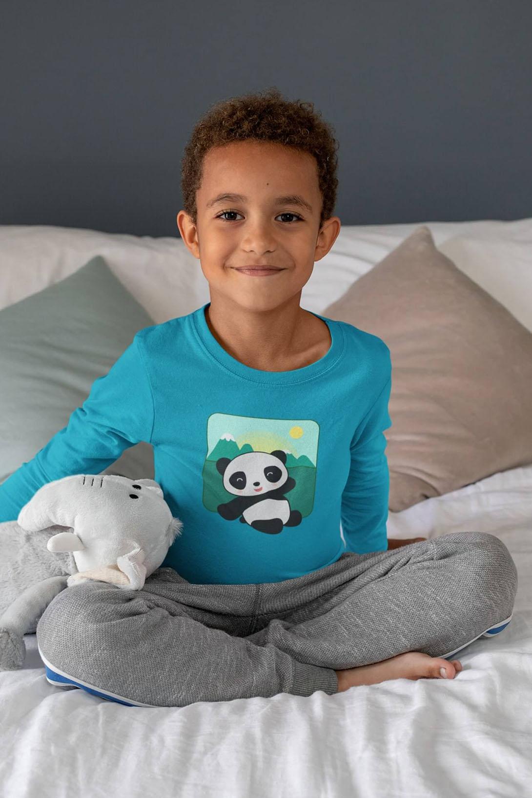 MMO Detské tričko s dlhým rukávom Panda Vyberte farbu:: Červená, Detská veľkosť: 158/12 rokov