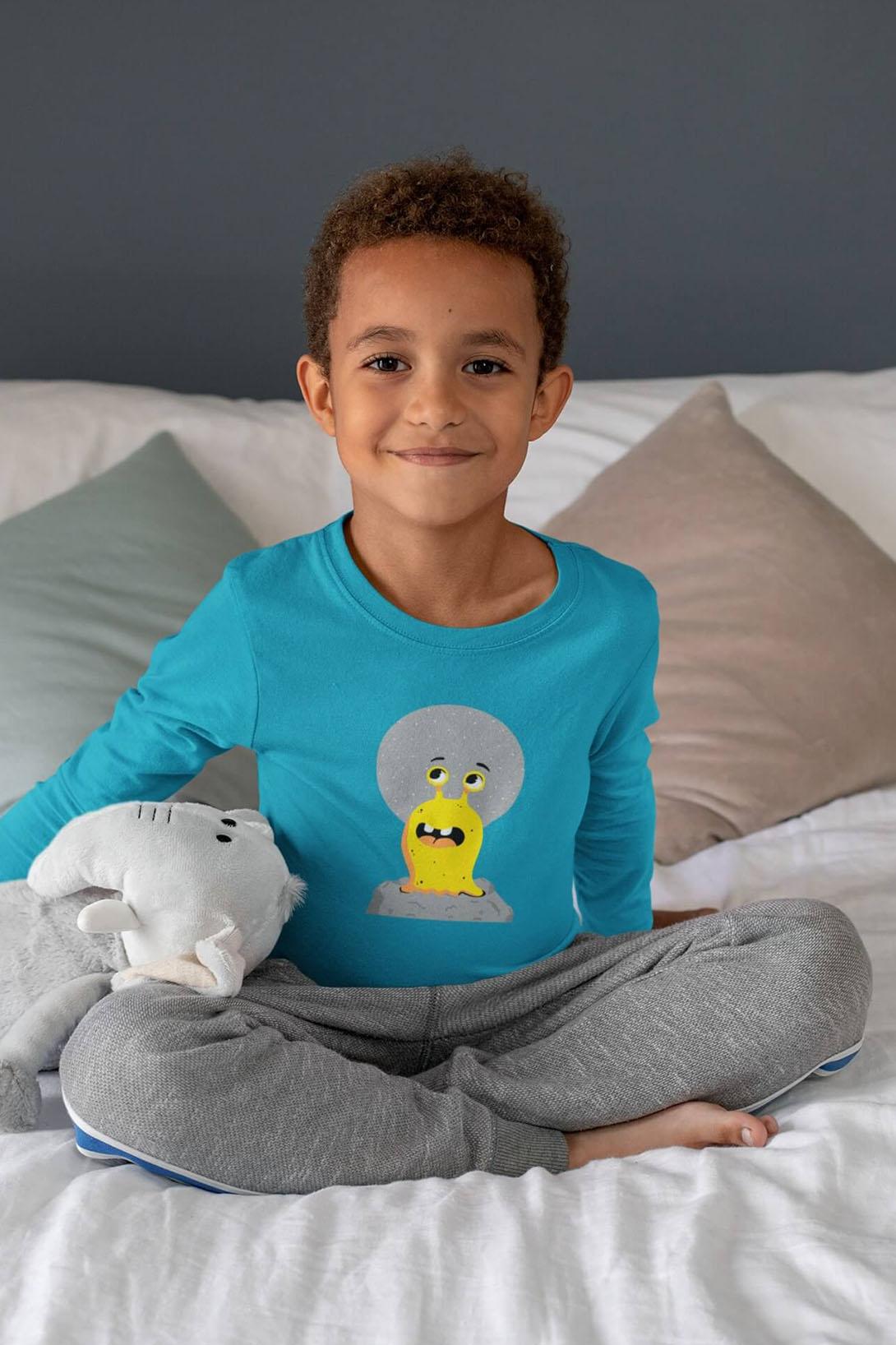 MMO Detské tričko s dlhým rukávom Slimák Vyberte farbu:: Malinová, Detská veľkosť: 158/12 rokov