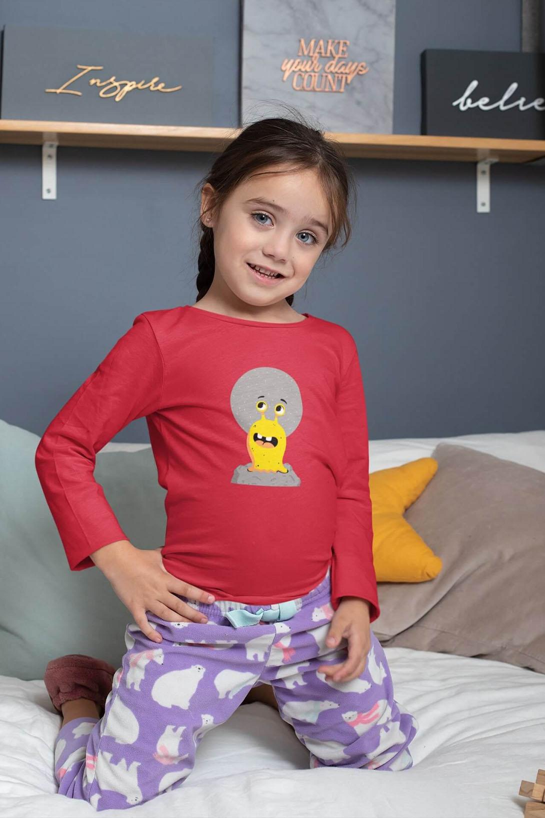 MMO Detské tričko s dlhým rukávom Slimák Vyberte farbu:: Limetková, Detská veľkosť: 158/12 rokov