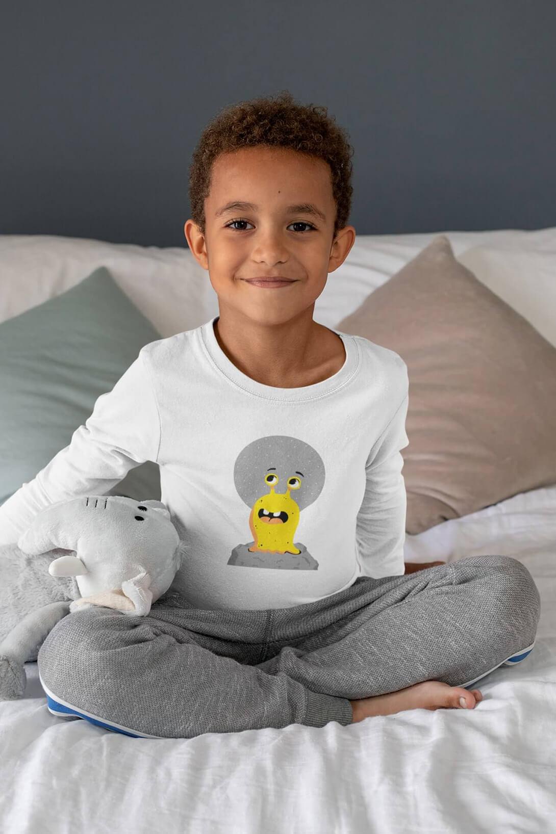 MMO Detské tričko s dlhým rukávom Slimák Vyberte farbu:: Biela, Detská veľkosť: 158/12 rokov