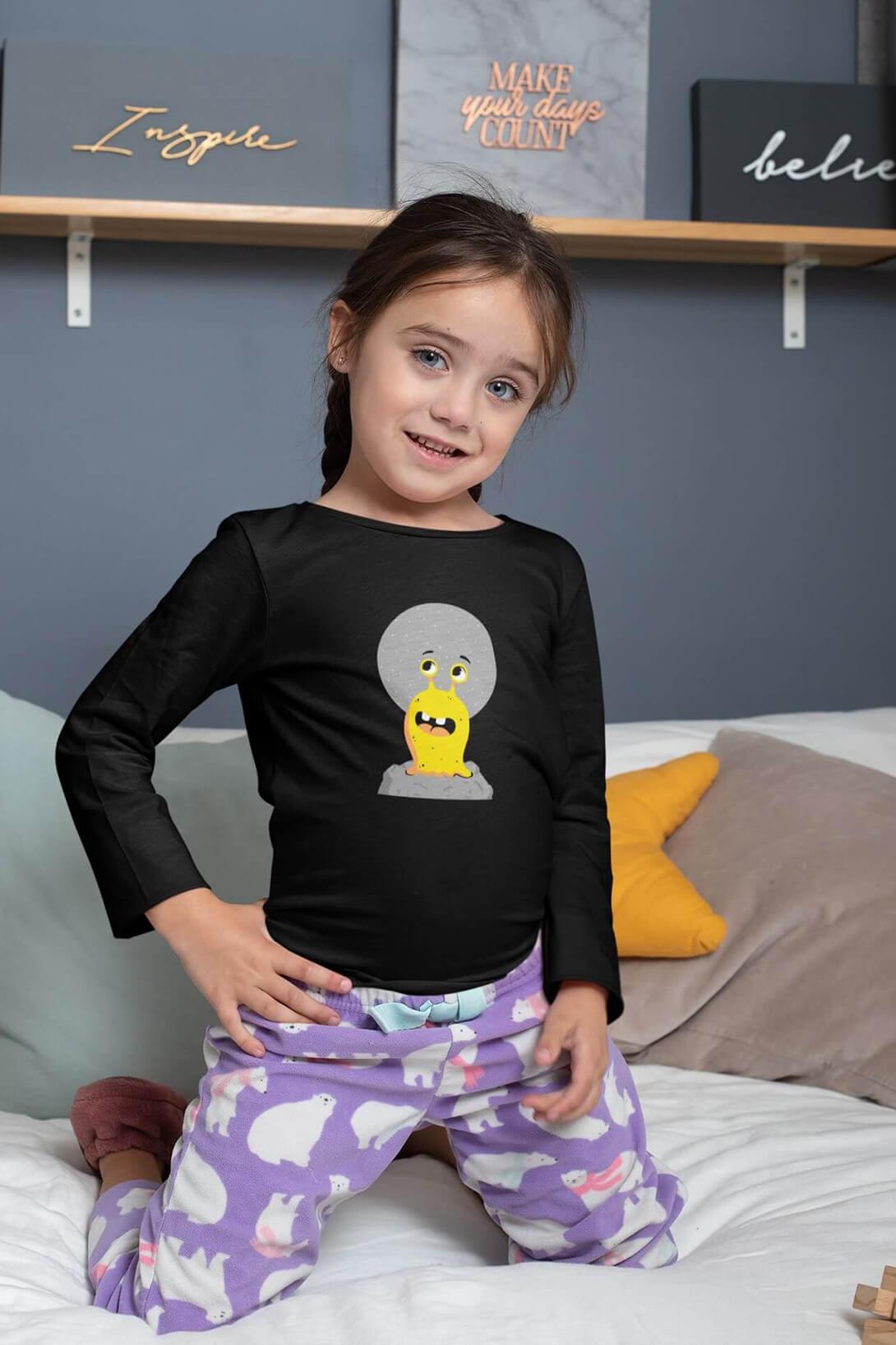 MMO Detské tričko s dlhým rukávom Slimák Vyberte farbu:: Čierna, Detská veľkosť: 158/12 rokov