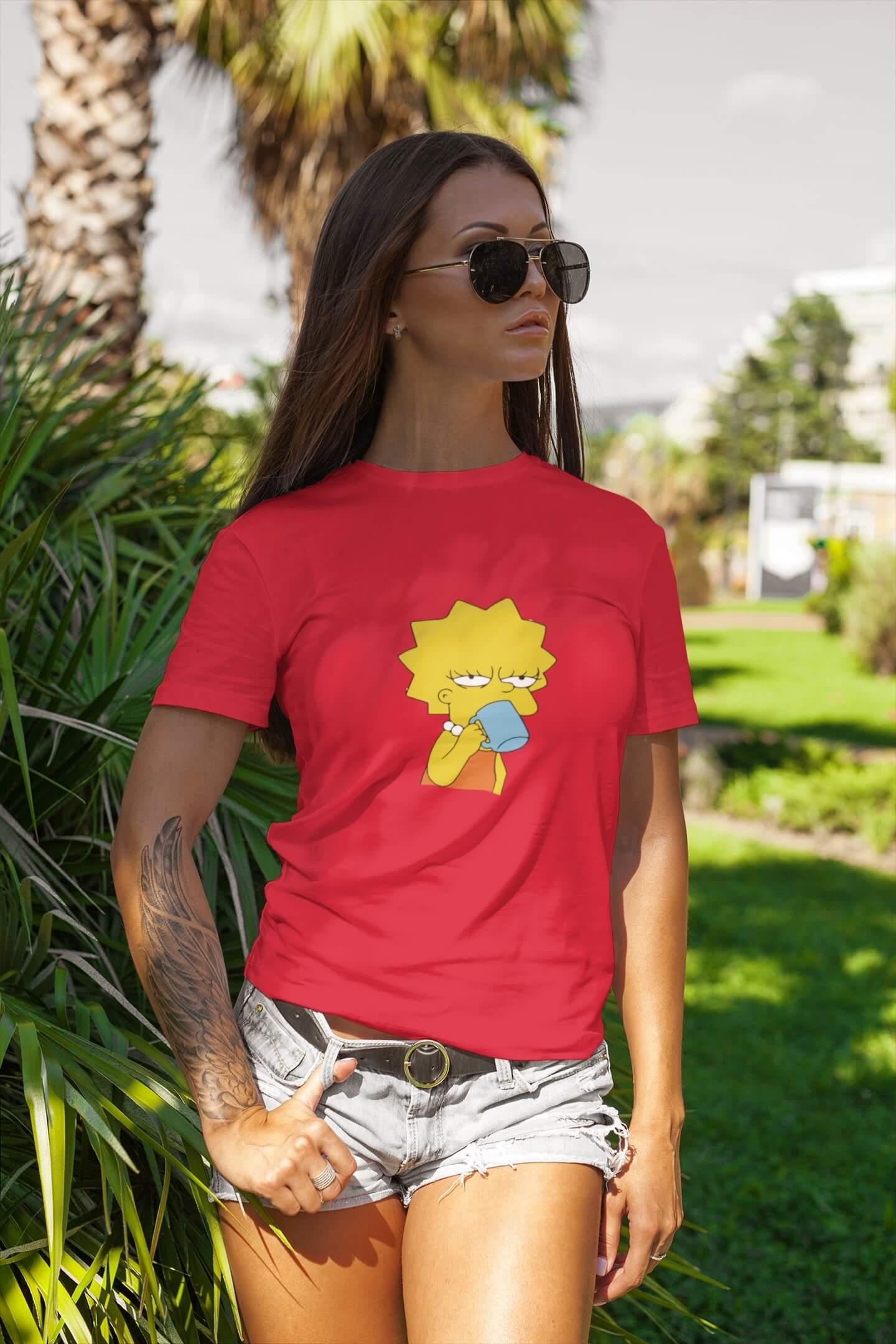 MMO Dámske tričko Lisa Vyberte farbu: Červená, Dámska veľkosť: M