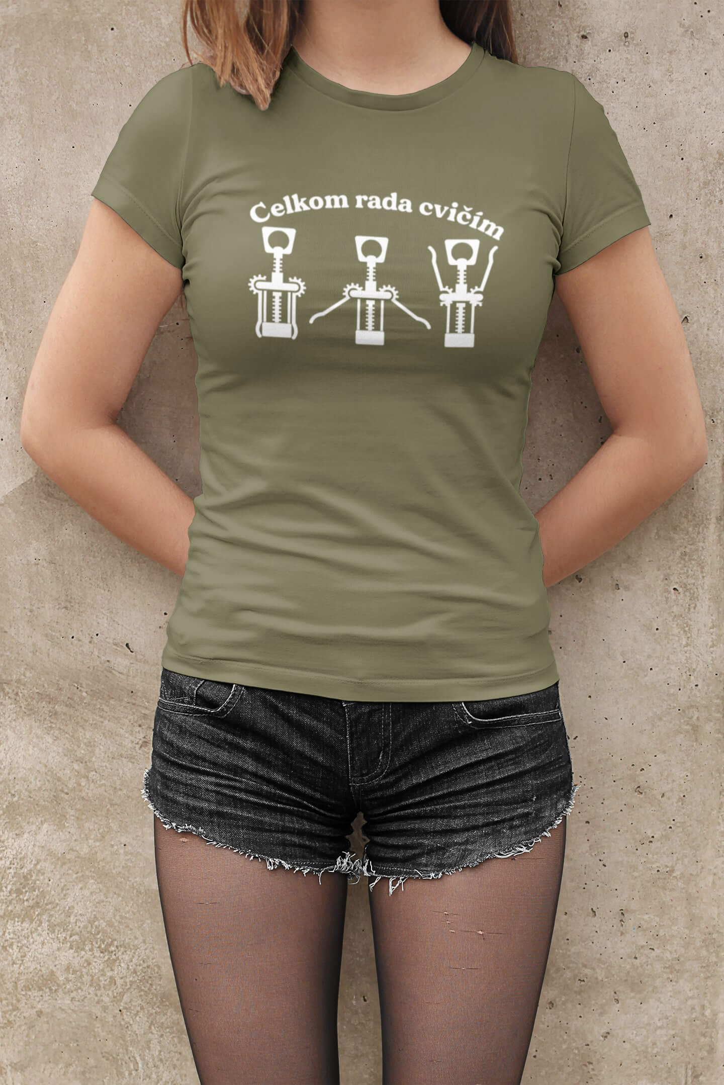 MMO Dámske tričko Celkom rada cvičím Vyberte farbu: Svetlá khaki, Vyberte veľkosť: XS