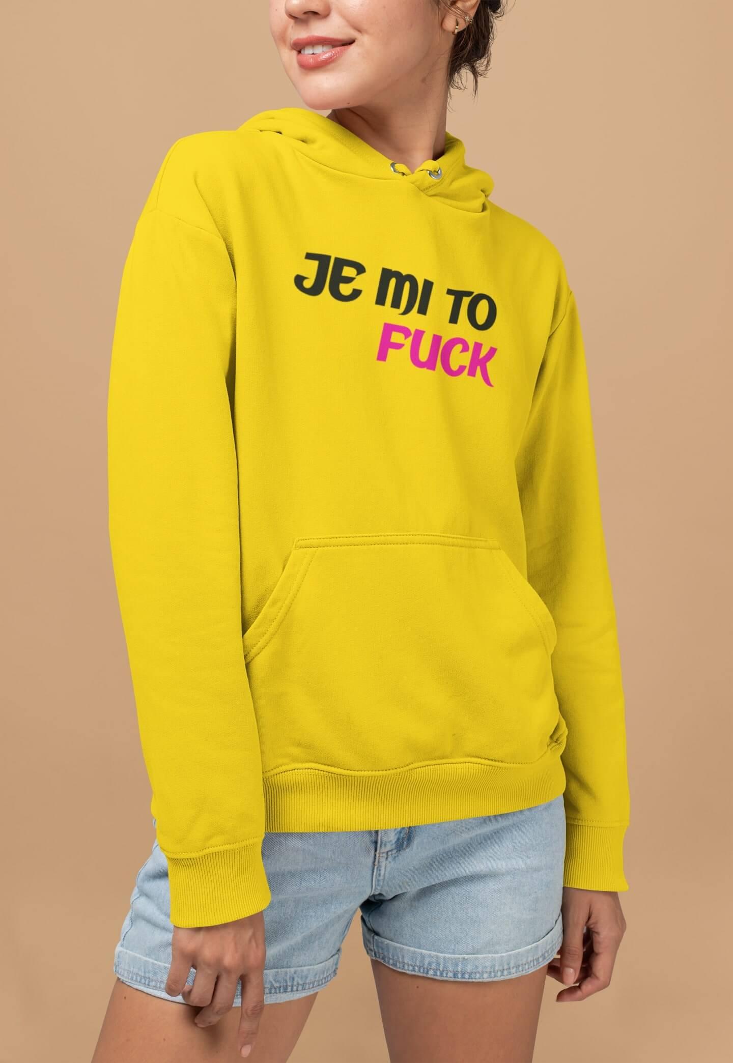 MMO Vtipná dámska mikina Je mi to fuck Farba: Žltá, Vyberte veľkosť:: M