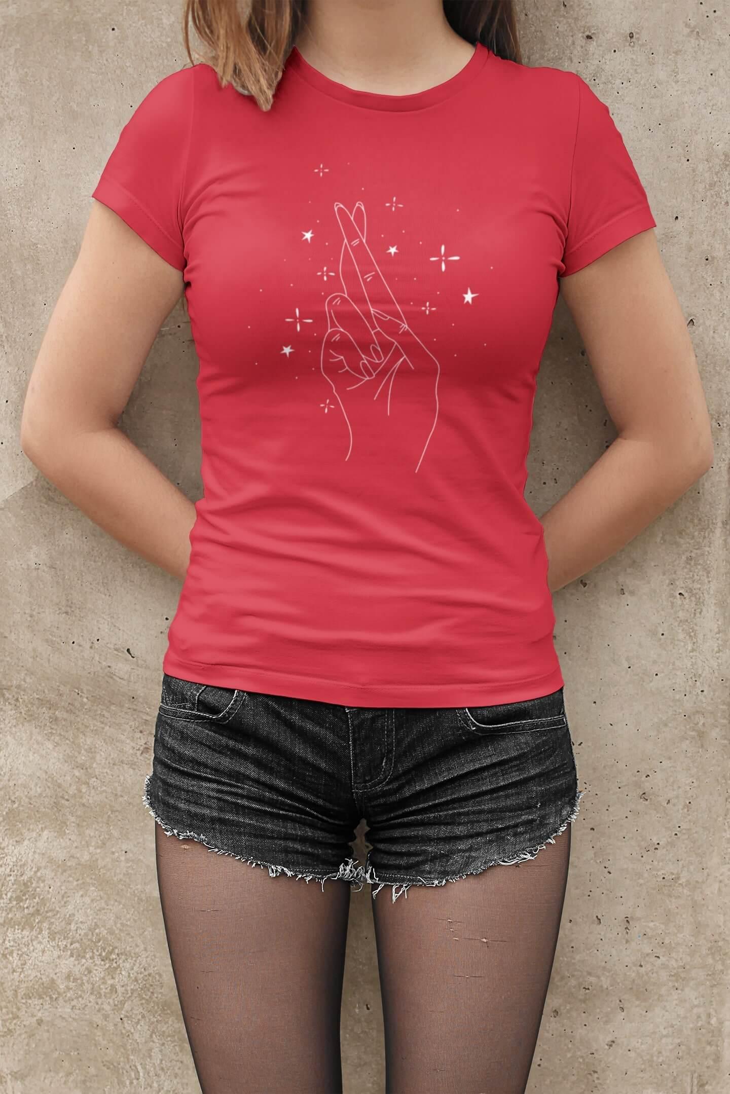 MMO Dámske tričko Ruka Vyberte farbu: Červená, Dámska veľkosť: M