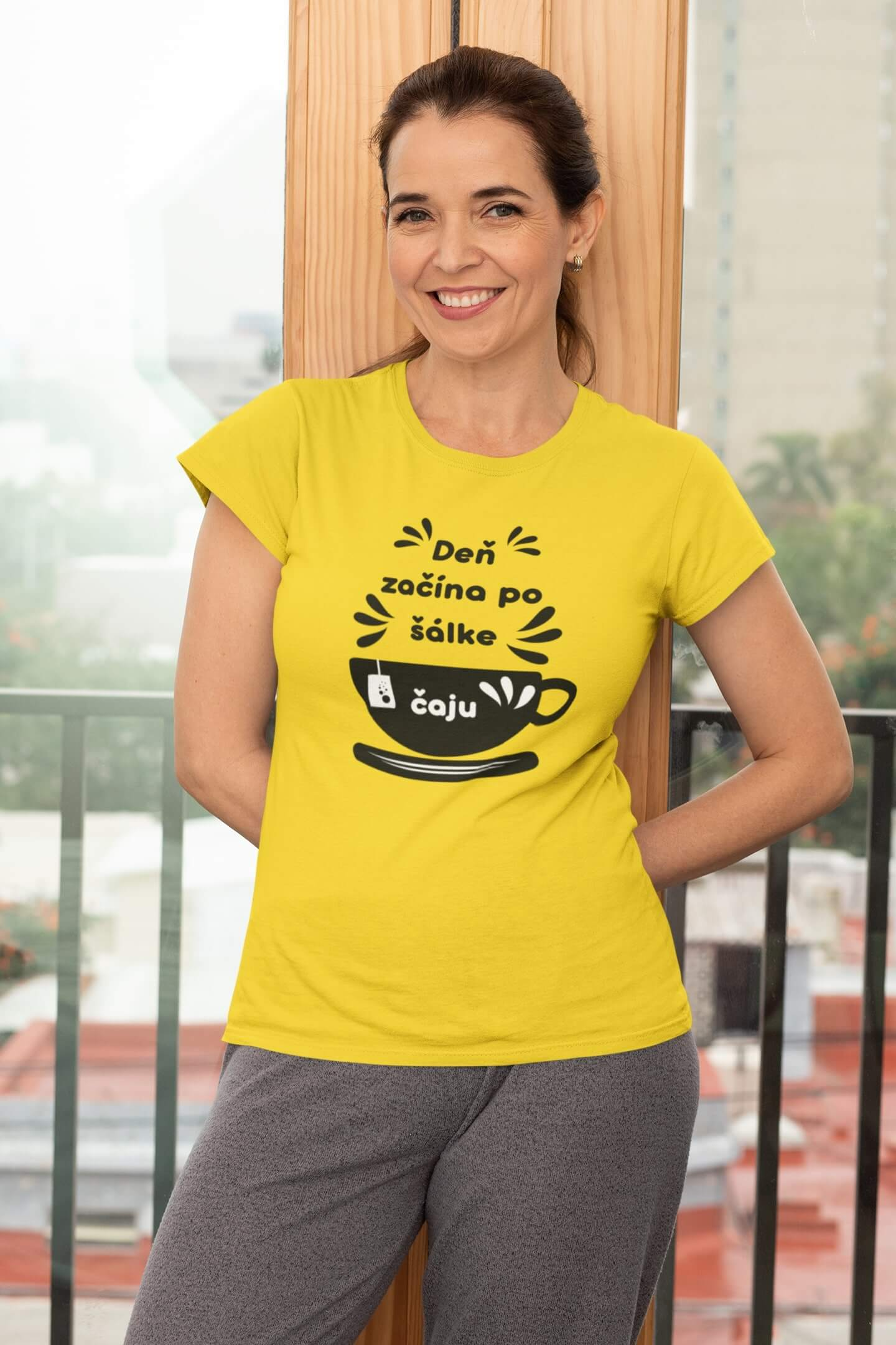 MMO Dámske tričko Šálka čaju Vyberte farbu: Žltá, Dámska veľkosť: S