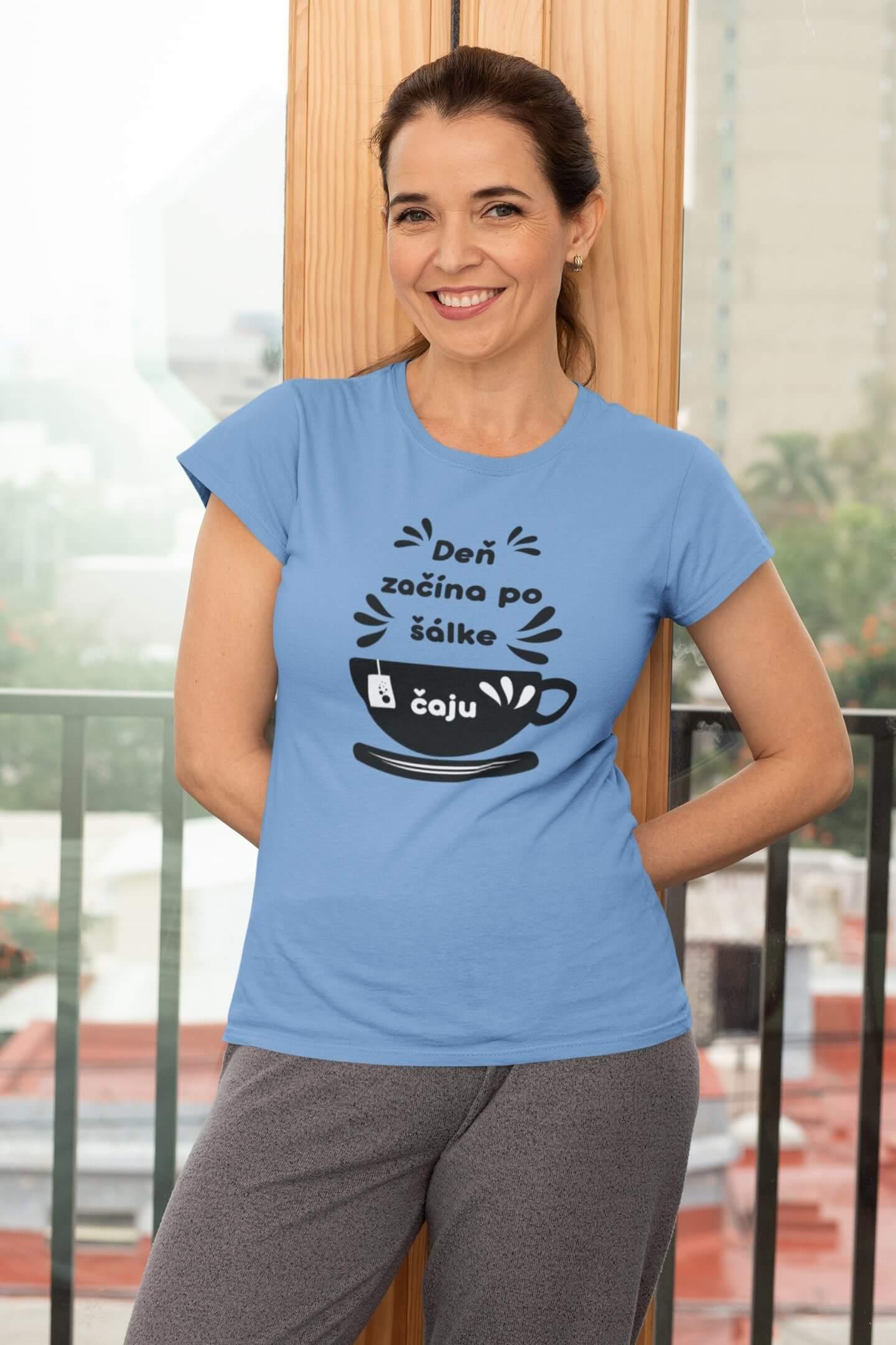 MMO Dámske tričko Šálka čaju Vyberte farbu: Svetlomodrá, Dámska veľkosť: S