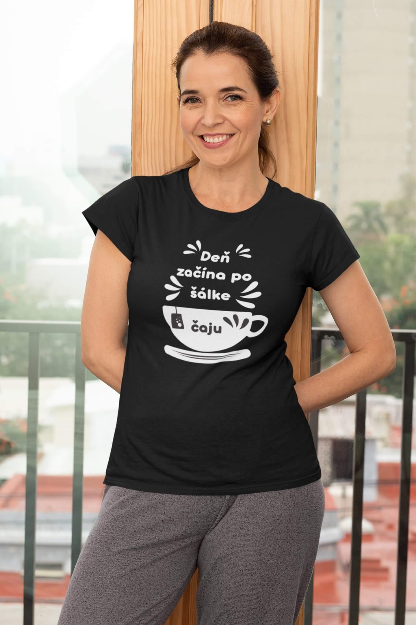 MMO Dámske tričko Šálka čaju Vyberte farbu: Čierna, Dámska veľkosť: S