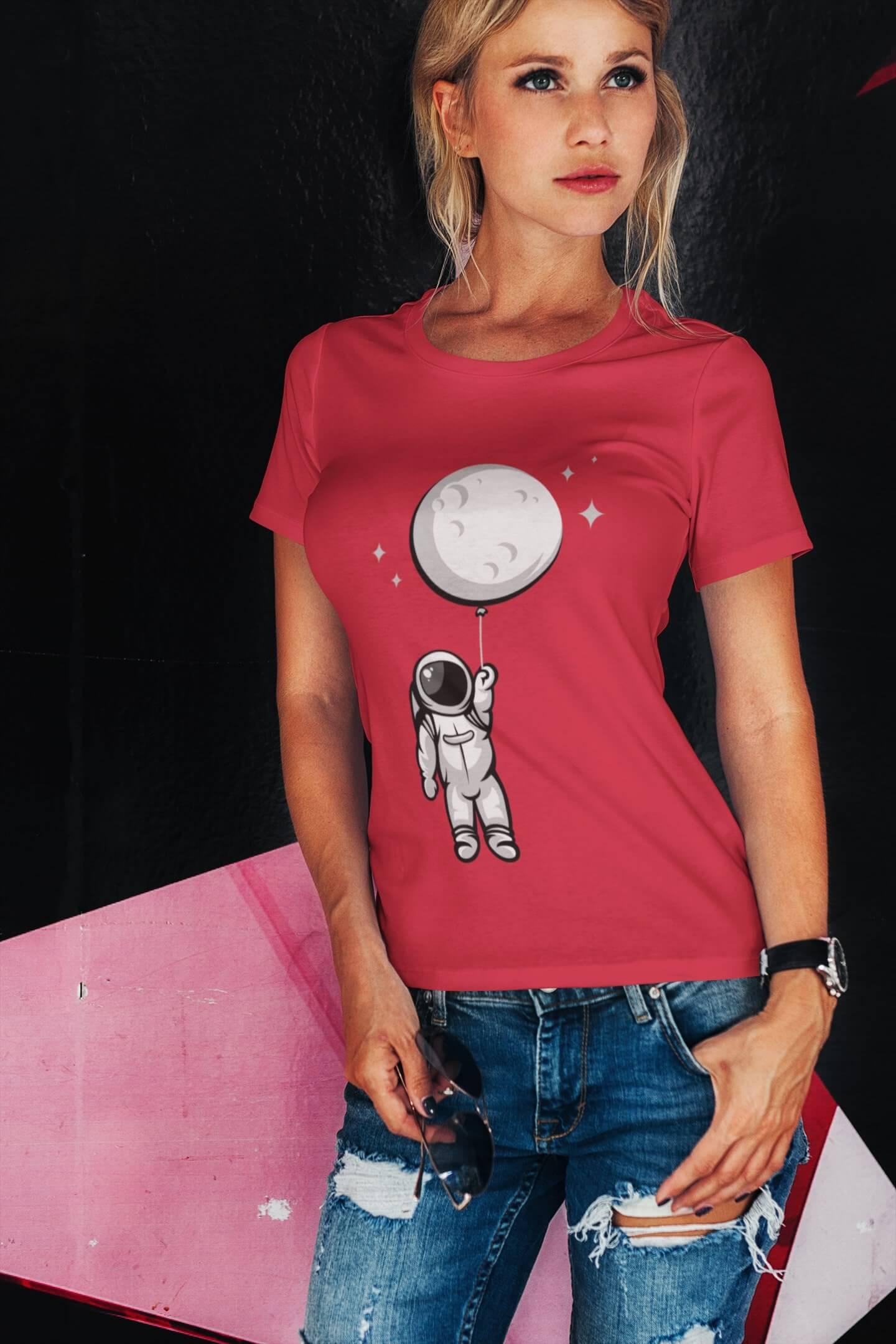 MMO Dámske tričko Astronaut Vyberte farbu: Červená, Dámska veľkosť: M