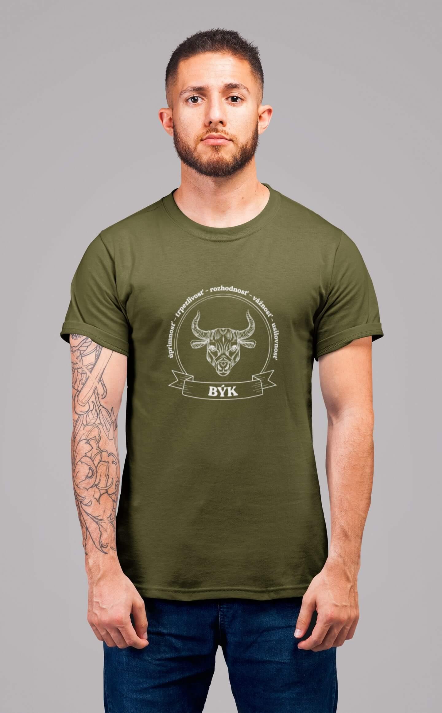 MMO Pánske tričko Býk Vyberte farbu: Military, Vyberte veľkosť: XS