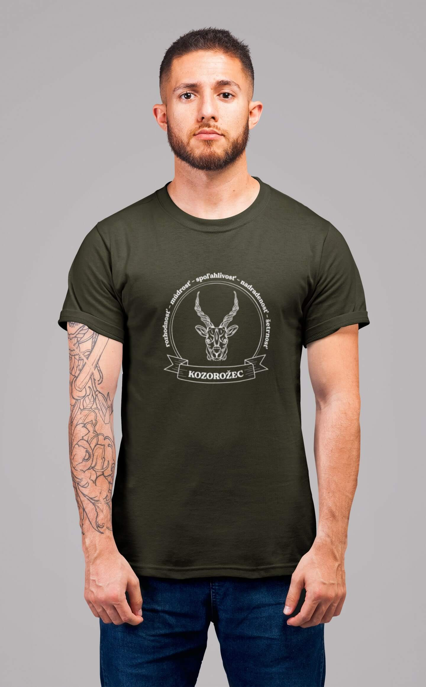 MMO Pánske tričko Kozorožec Vyberte farbu: Military, Vyberte veľkosť: XS