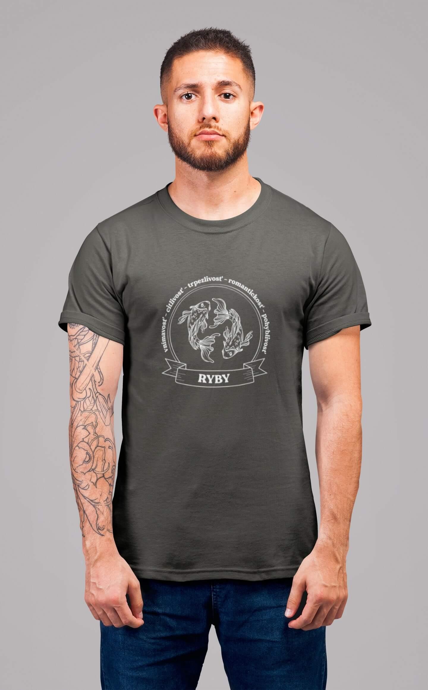 MMO Pánske tričko Ryby Vyberte farbu: Tmavá bridlica, Vyberte veľkosť: XL