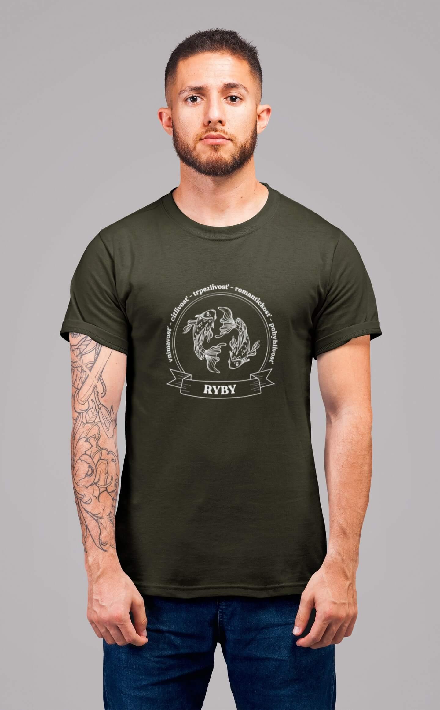 MMO Pánske tričko Ryby Vyberte farbu: Military, Vyberte veľkosť: XS